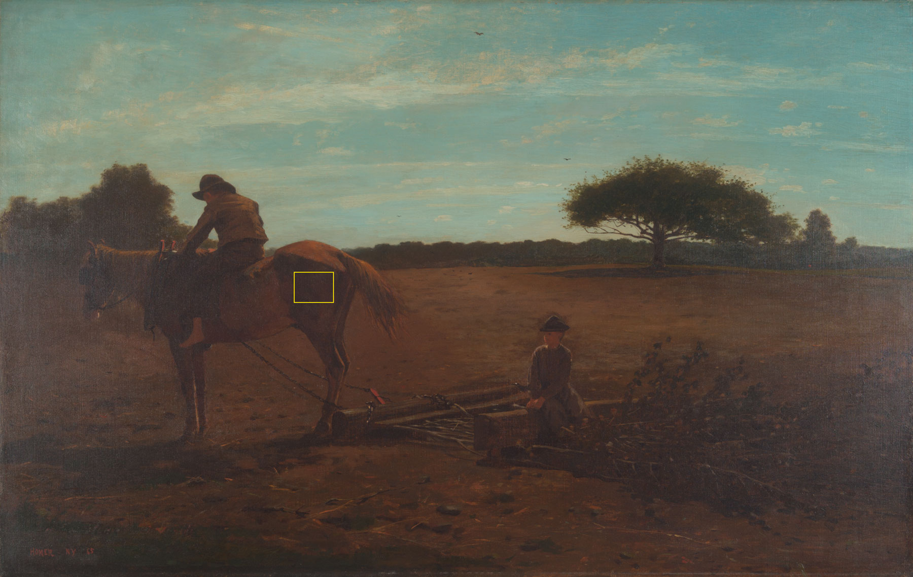 View of the original painting with a yellow box around the horse's hind leg where the brand is.