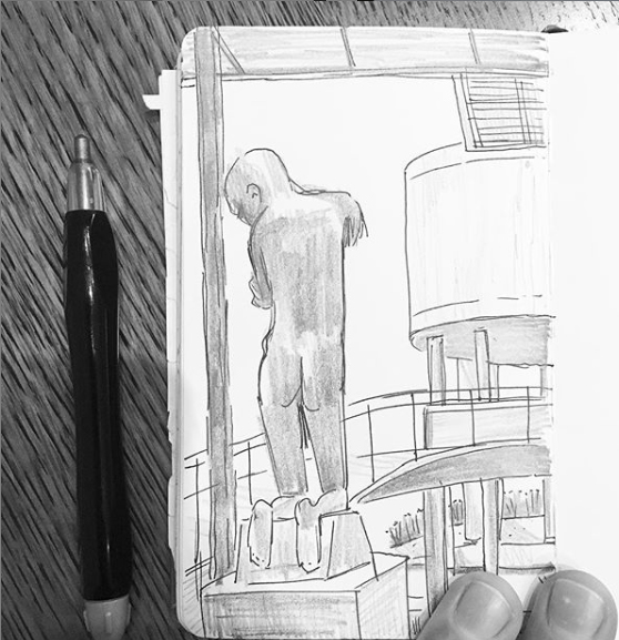 A drawing of the backside of an abstract sculpture of a kneeling human figure