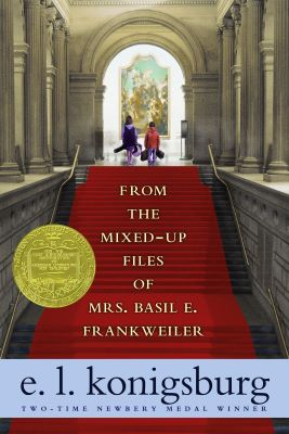"A book cover shows a red-carpeted staircase within a large museum rotunda or arcade; at the top of the staircase two children stand under an arch looking at a large painting. ""FROM THE MIXED-UP FILES OF MRS. BASIL E. FRANKWEILER"" and ""e.l. konigsburg"" are"
