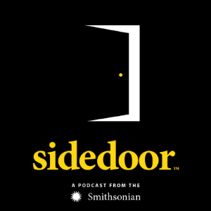 "A black cube shows a graphic of a door slightly ajar, with the word ""sidedoor"" written in yellow."