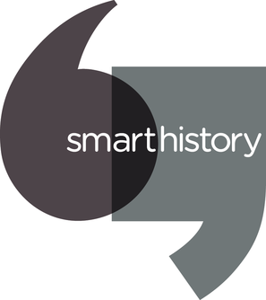 "In this graphic shows a dark grey rounded open quotation mark overlaying a lighter grey, square closed quotation mark. Over the two marks is written ""smarthistory."""
