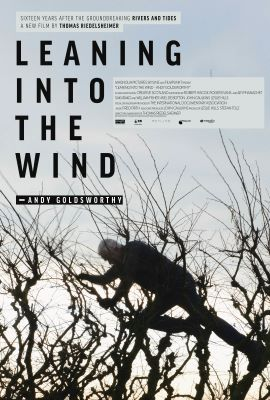 "A movie poster shows a silhouette of a male figure climbing through treetops against a gray sky. The words ""Leaning into the Wind"" and ""Andy Goldsworthy"" appear above and to the left of the figure."