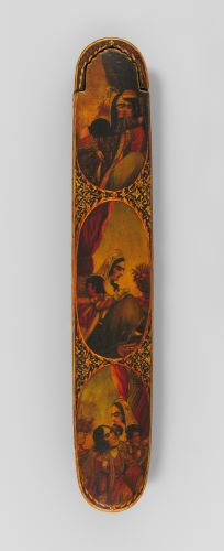 An elongated pen box with rounded edges is decorated with three oval vignettes on its lid. The largest vignette shows a seated woman writing; she is framed by a red curtain and a bouquet of flowers. The smaller vignettes above and below depict ornately dressed figures kissing and embracing.
