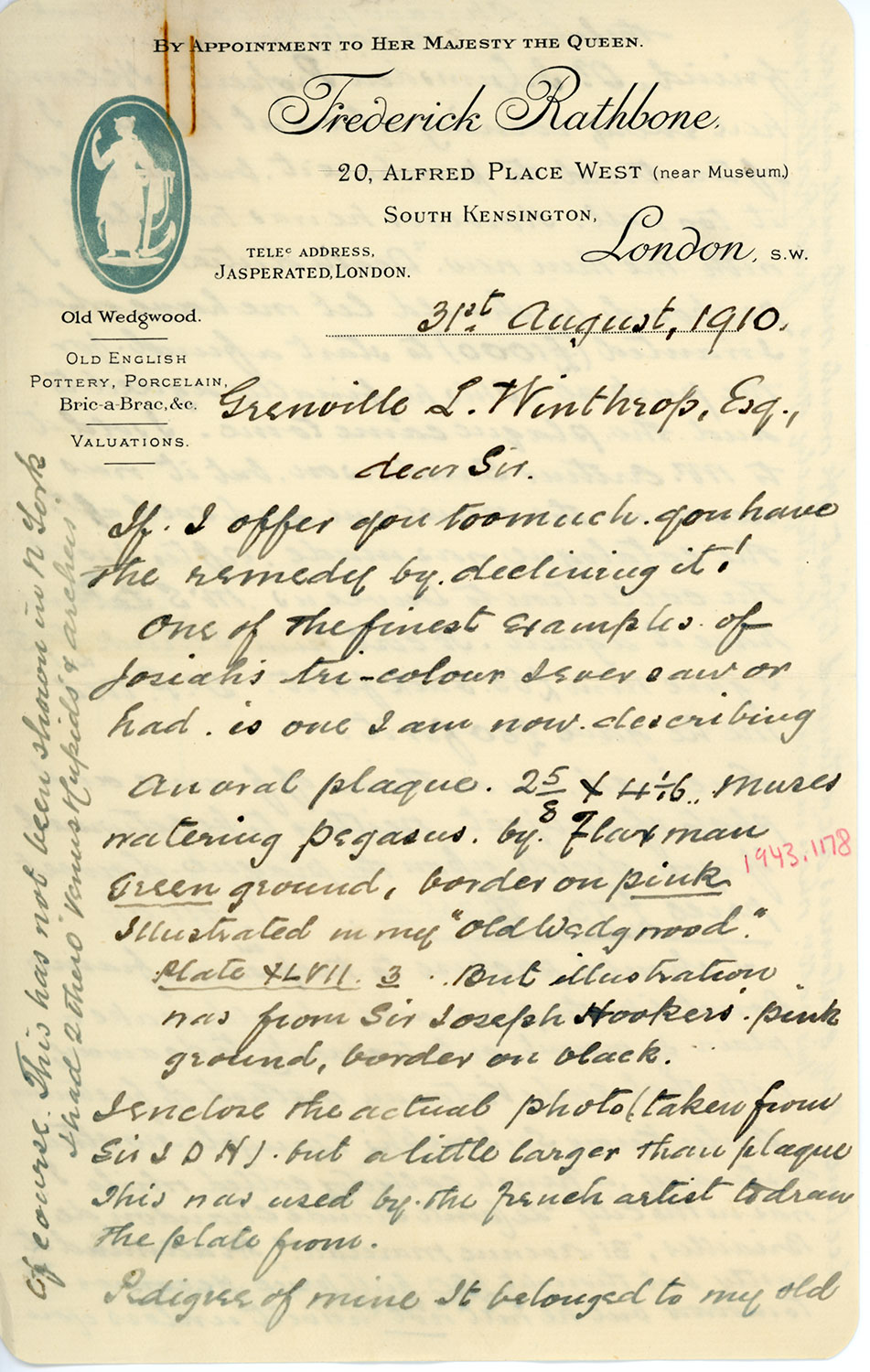 A handwritten letter, dated 31 August 1910, is addressed to Grenville L. Winthrop, Esq., with the letterhead of Frederick Rathbone at top.