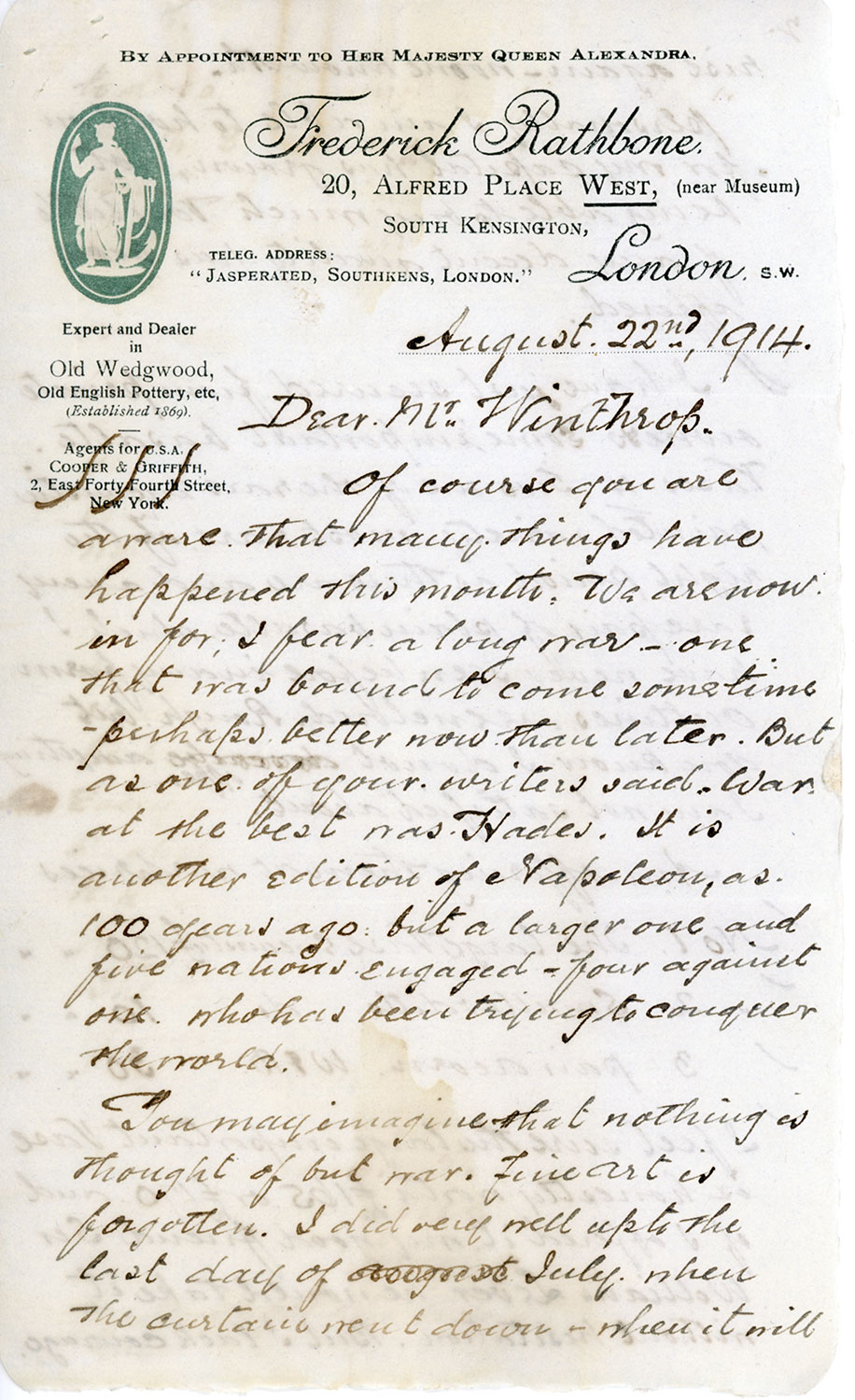 A handwritten letter, dated August 22, 1914, is addressed to Mr. Winthrop, with the letterhead of Frederick Rathbone at top.