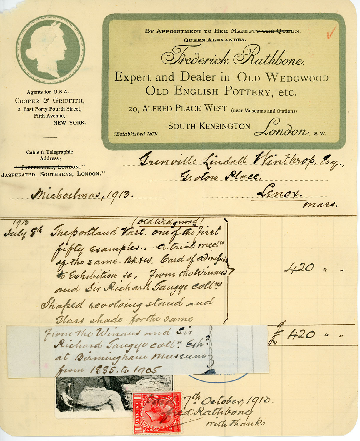 "An invoice, addressed to Grenville Lindall Winthrop, Esq., and dated ""Michaelmas, 1913,"" shows handwritten text about the Portalnd Vase in the left column and ""420"" in the right. The letterhead of Frederick Rathbone appears at the top in a green-bordered label."