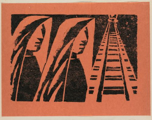 This woodcut shows on the left two figures, whose facial features are not detailed, next to train tracks that grow narrower from the bottom of the work to the top.