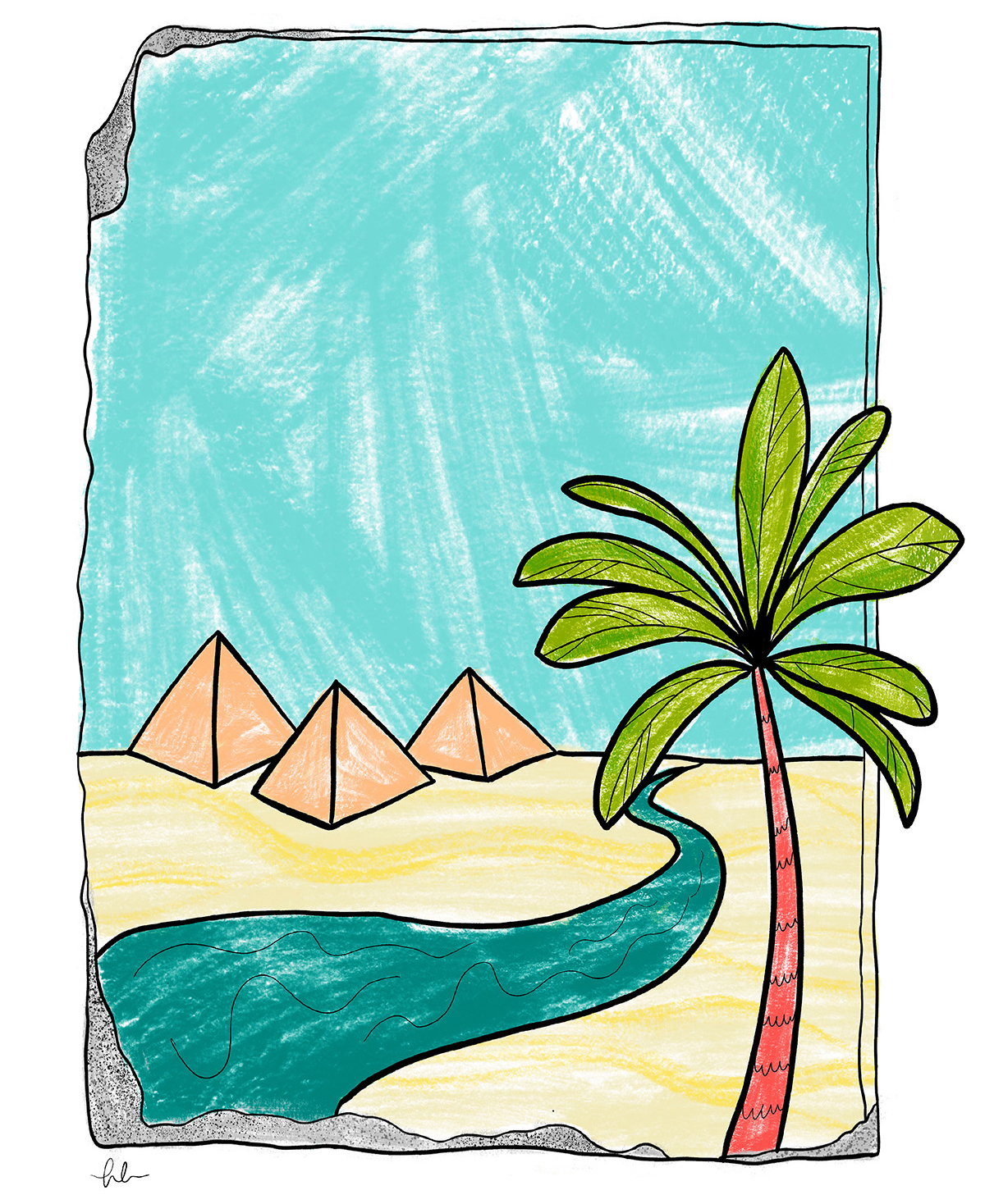 An illustration that looks colored in with crayons, shows a blue sky behind the text, three pyramids below, a little blue river at the bottom of the illustration, and a palm tree at lower right, in the foreground.