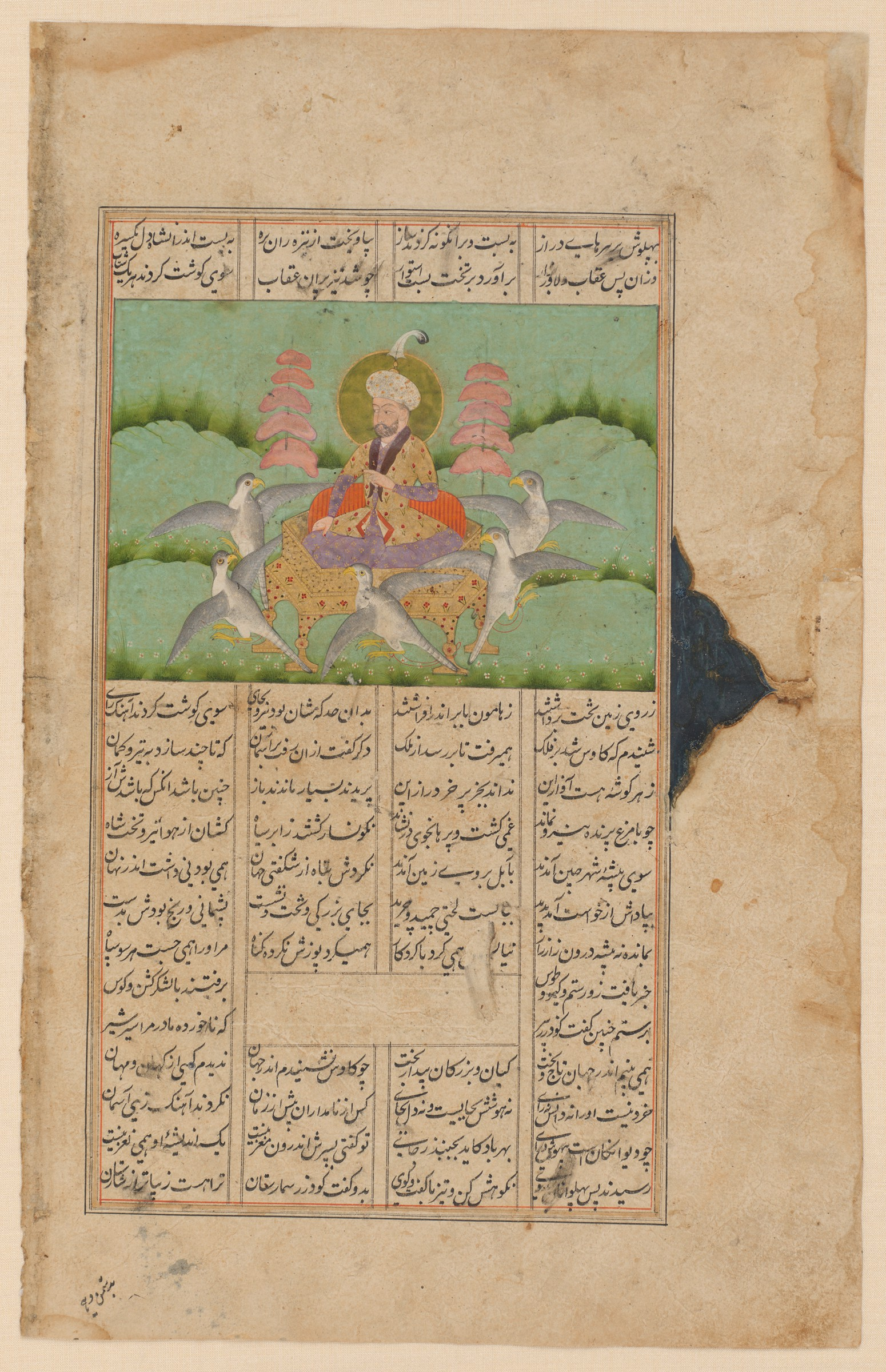 In a verdant landscape with flowers and distant trees, a luxuriously dressed man sits with crossed legs on a golden throne. His head, graced by a turban with a tall feather, is surrounded by a halo. The throne is tied to five eagles' talons. The fluttering birds eye two skewers of meat that are fastened to the throne.