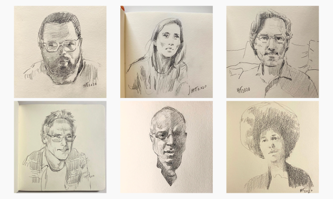 A series of six portrait sketches in graphite on paper appears in a grid. Moving clockwise from the top left, the sketches depict artists and creators Hilton Als, Brit Marling, Jonathan Lethem, LaToya Ruby Frazier, Stan Douglas, and Ben Stiller.