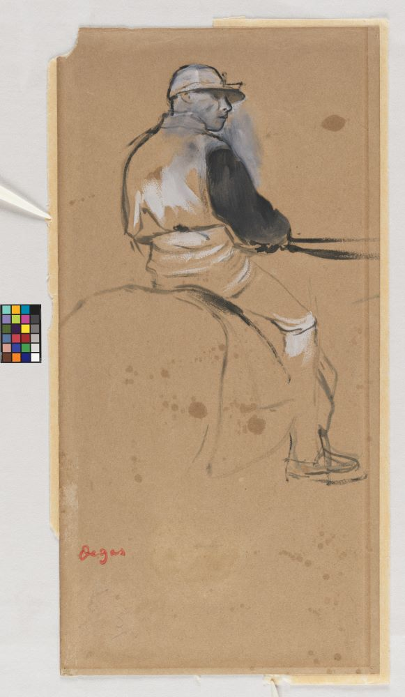 This drawing of the jockey shows an outer edge of lighter-colored paper, partially absent at the top and bottom and left side. The top left corner of the work is missing.