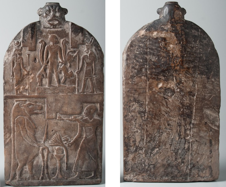 The front of the magical stele, at left, is carved with scenes in raised relief, and the back of the stele, at right, is relatively smooth with some marks from stonemasons' tools.