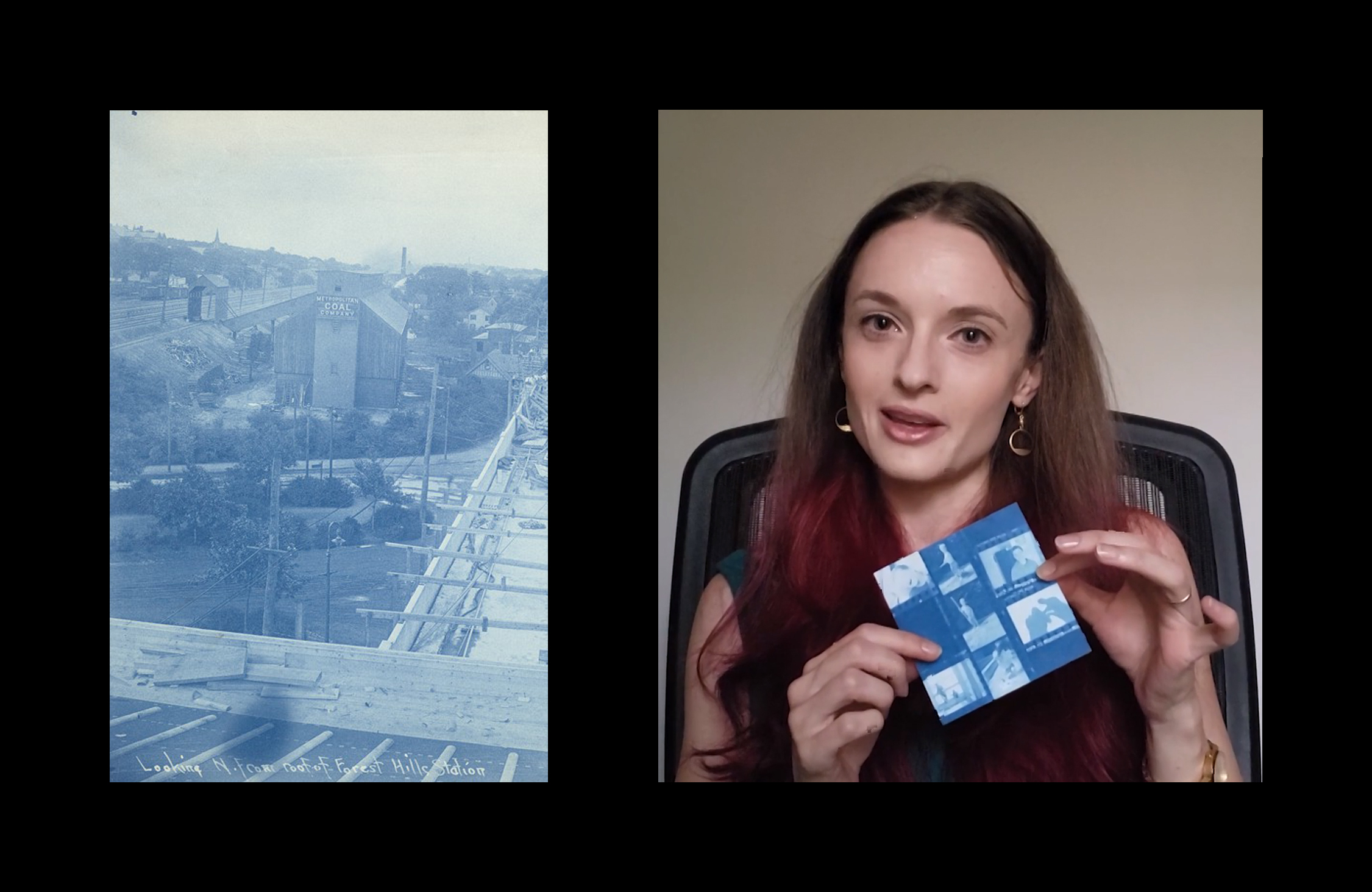 On the left, a blue photographic image shows a raised subway platform under construction. On the right, an image shows a woman holding a blue square cyanotype print featuring a collage of photographic negatives of people.