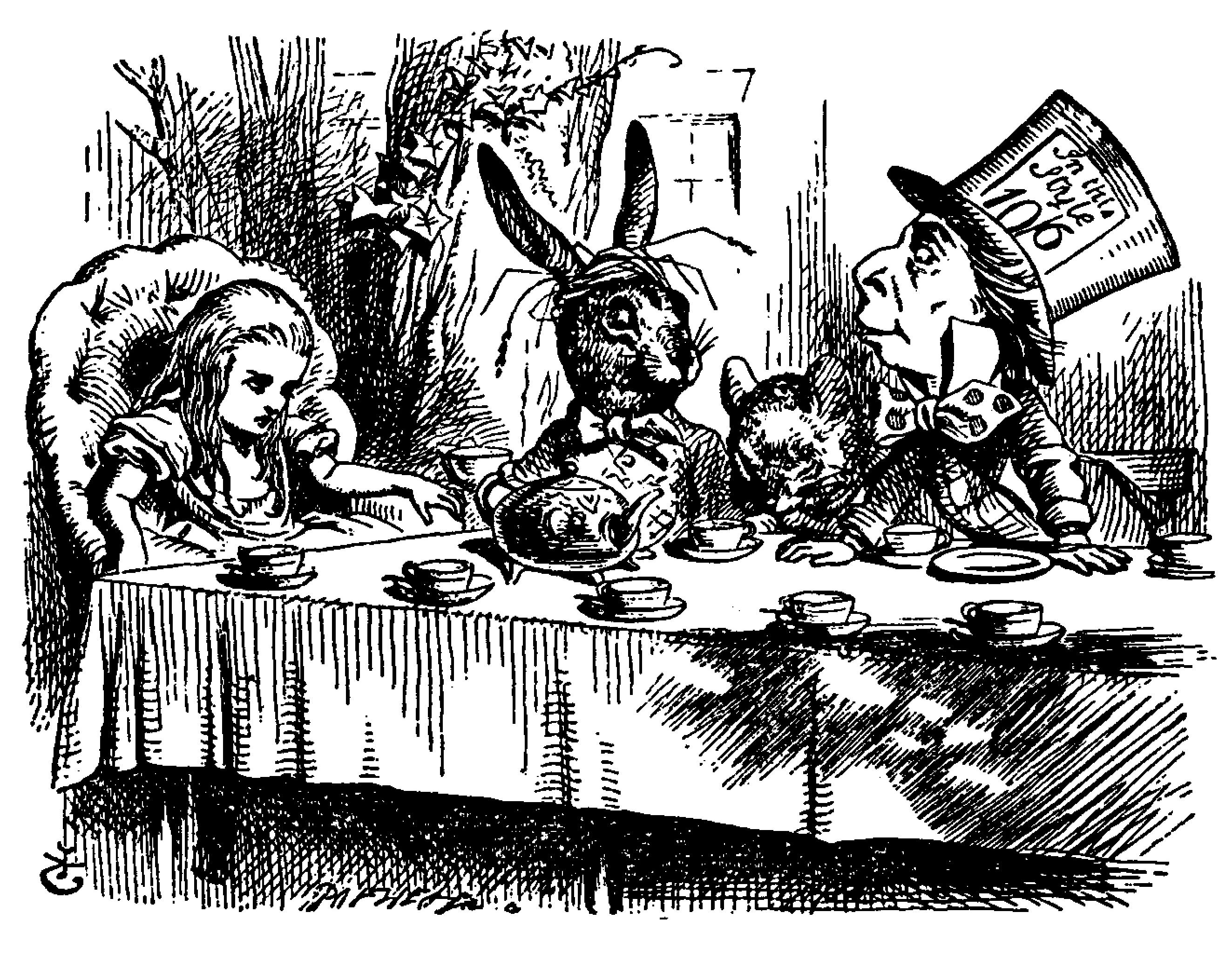 In this black-and-white image rendered in fine black lines, four figures are seated at a long table set for tea. A girl with long light-colored hair is seated in a plush armchair at the left, facing to the right. To her right is a rabbit wearing human clo