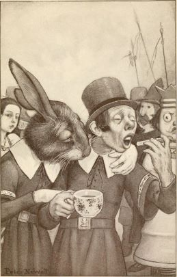 There are two images side by side. The halftone illustration printed on the right shows a rabbit dressed in human clothing has put his left hand around the left shoulder of a man with a top hat. A girl's head can be seen at the left behind the rabbit, and a king with a crown and soldiers with banners stand behind the man with a hat at the right. The man is holding a teacup in his right hand and holds something in his left hand, which is raised toward his open mouth. The rabbit and man with a hat are wearing belted garments with large white collars.