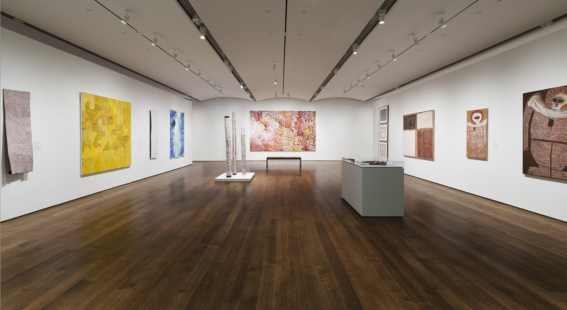 arge gallery with a variety of sculptures and large-scale paintings from Australian indigenous artists.