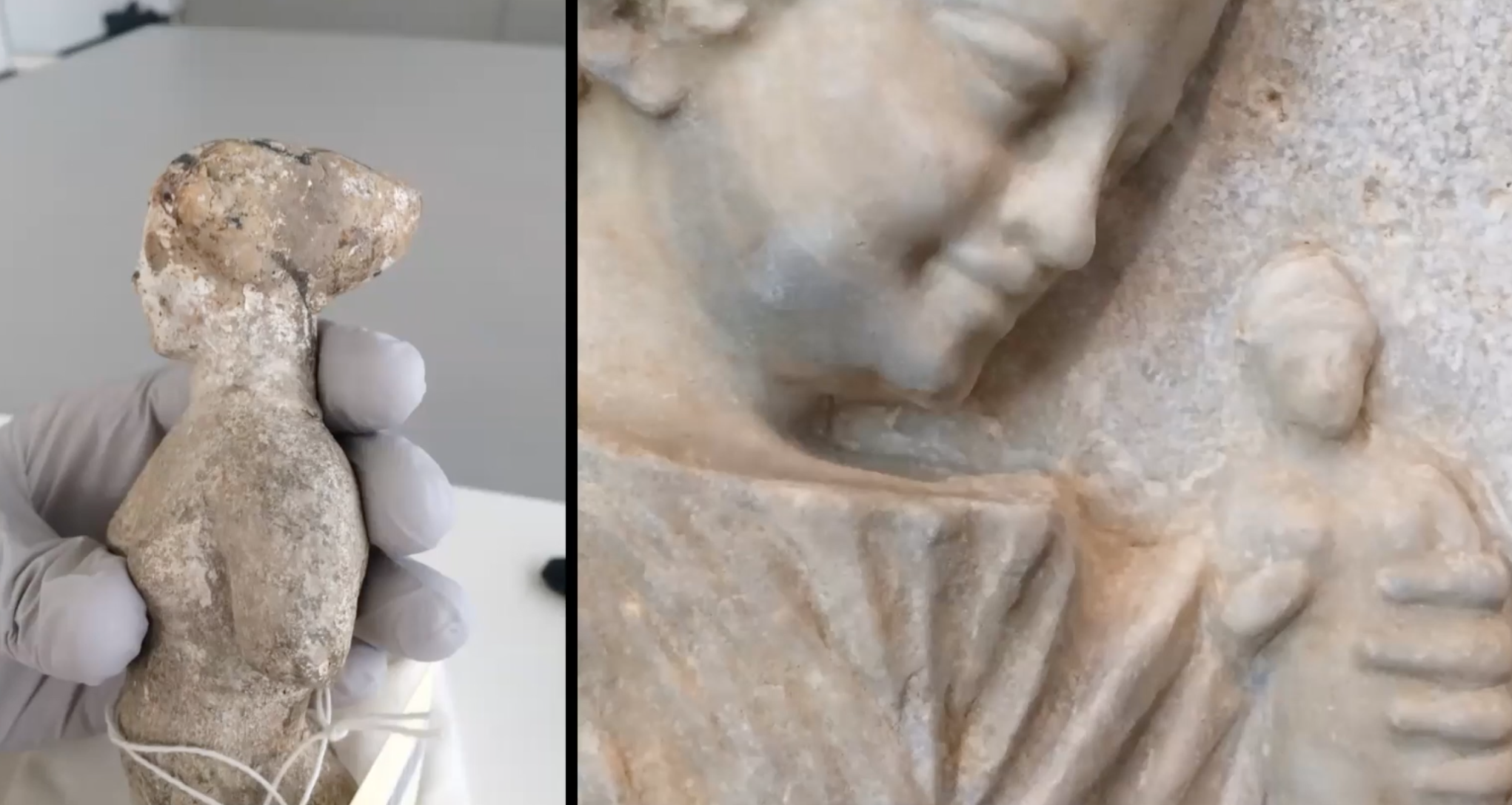 This image shows two side-by-side photographs: the smaller one on the left shows a mottled clay doll figurine in profile, with the head facing left, in the hand of someone wearing a rubber glove. The image on the right is a close-up of a marble sculpture of a little girl's face and shoulder. She is smiling and looking at the head of a tiny doll figurine just to the right of her. The figures both emerge from a marble surface.