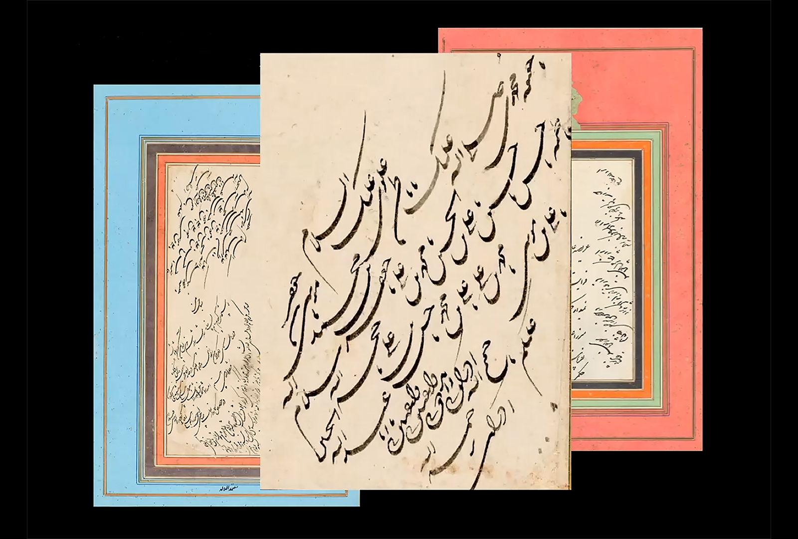 Three images show Persian calligraphy. On the left is calligraphy on paper, framed in light blue, red, and gold. On the right is calligraphy on paper, framed in red, orange, and green. The center image, overlapping slightly with the other two, shows a detail of calligraphy.
