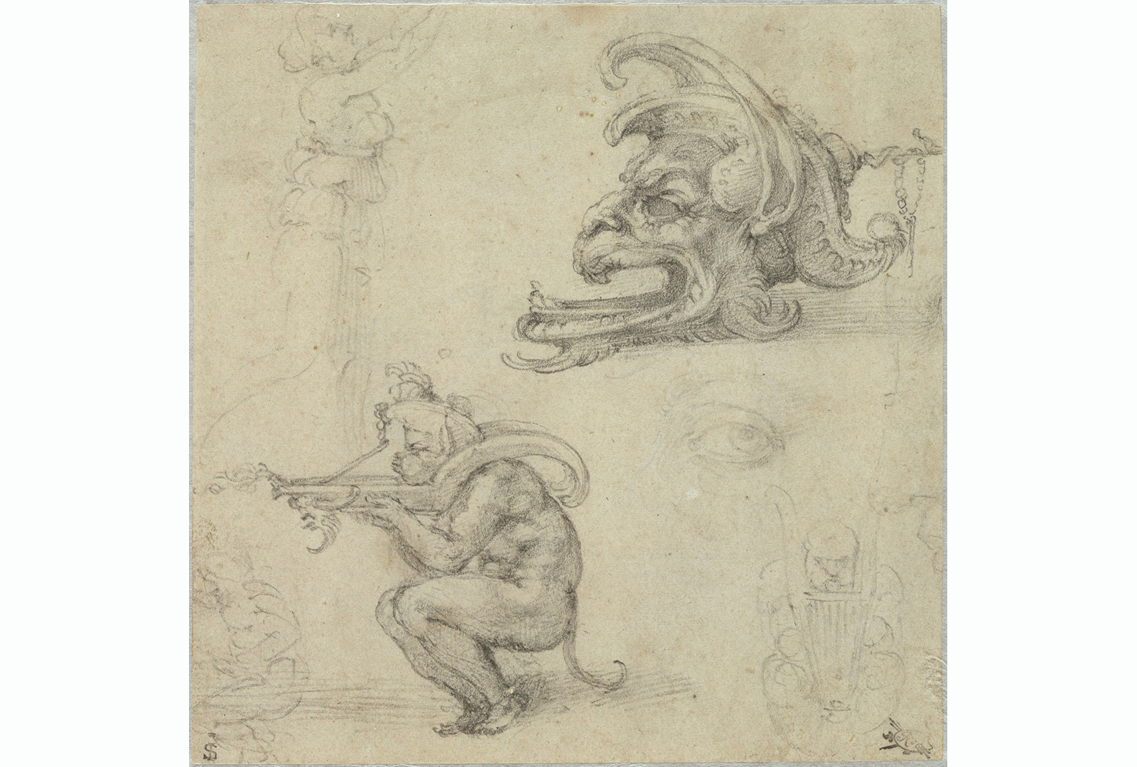 This drawing shows five sketches of figures and faces and two finished studies of grotesque figures.