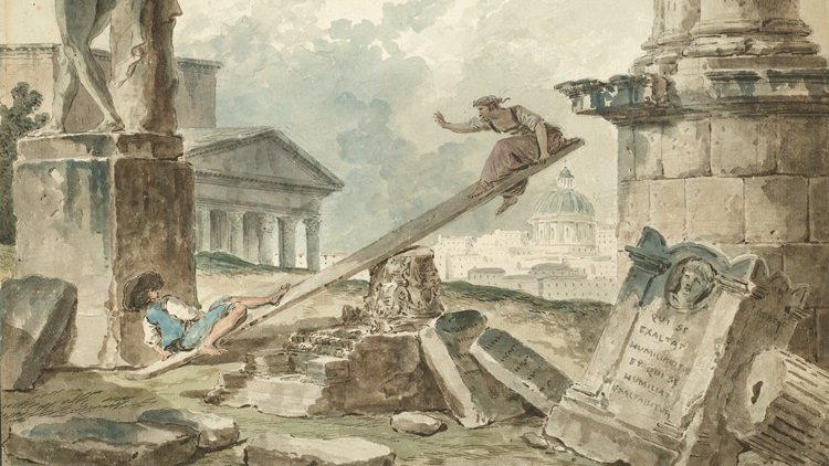 This watercolor drawing shows a man and a woman using a wooden plank on an upside-down architectural capital as a seesaw. They are surrounded by ancient ruins. St. Peter's Basilica and modern Rome appear in the background.