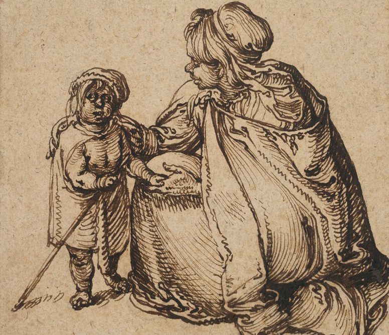 This drawing depicts a woman, seen in profile, facing left. She wears a hooded cape and kneels beside a small child. The woman places her proper right hand on the child's back and in her other hand holds the child's proper left hand.