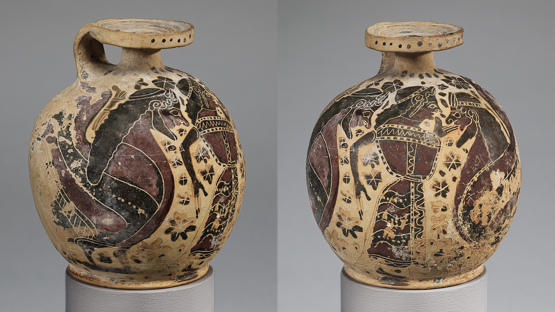 Two side-by-side photographs show different sides of an ancient Greek terracotta flask on a gray stand. The left shows a painted scene of a woman dancer, flanked on each side by bearded sirens. The right image shows one of the bearded sirens centered on the terracotta pot.