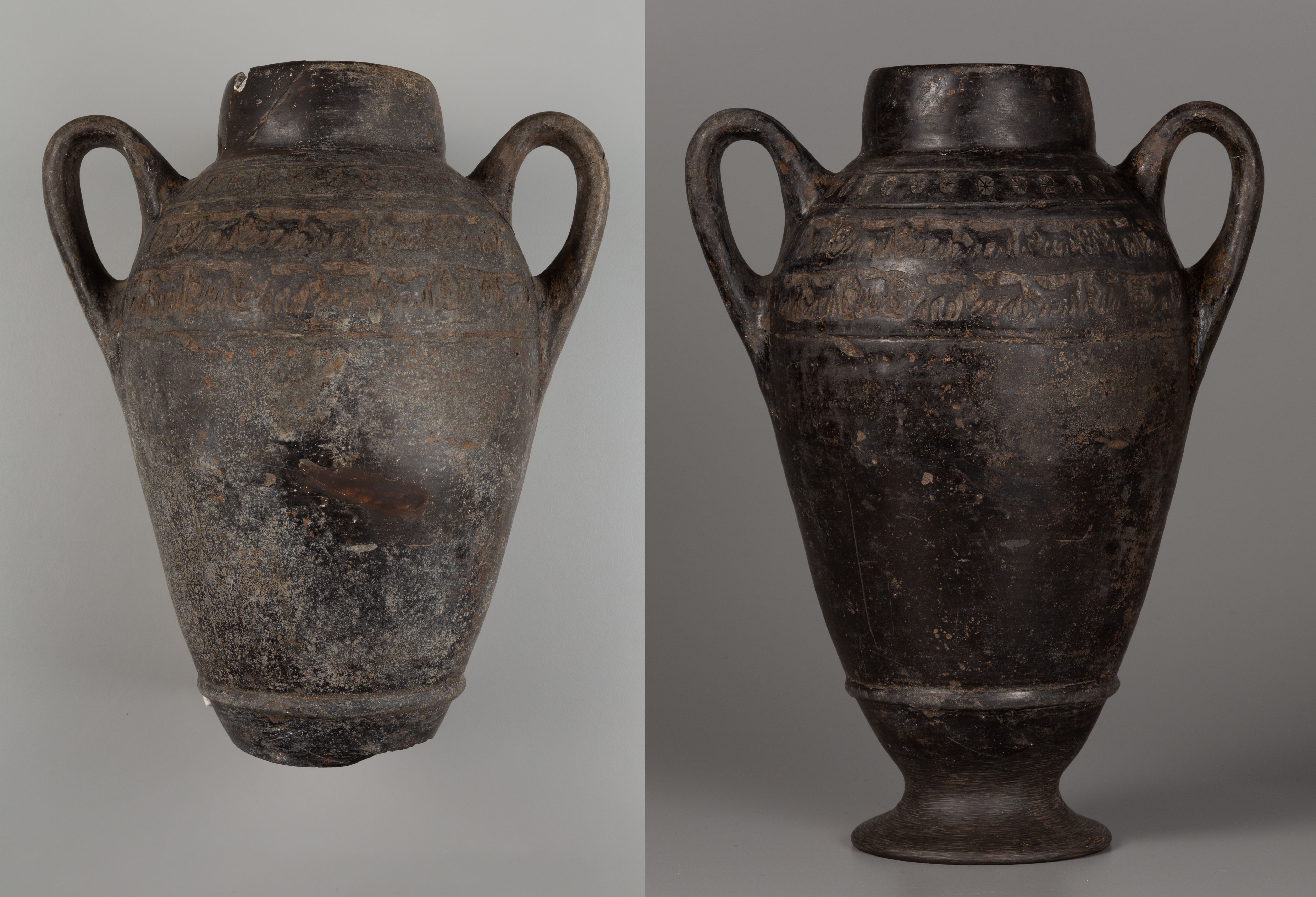There are two images side by side of a dark brown vessel with two curved handles. In the image on the left, the vessel has light surface crusts, dark patches, and no base. In the image on the right, the vessel's surface is shiny and dark brown and black, with a base of the same color.
