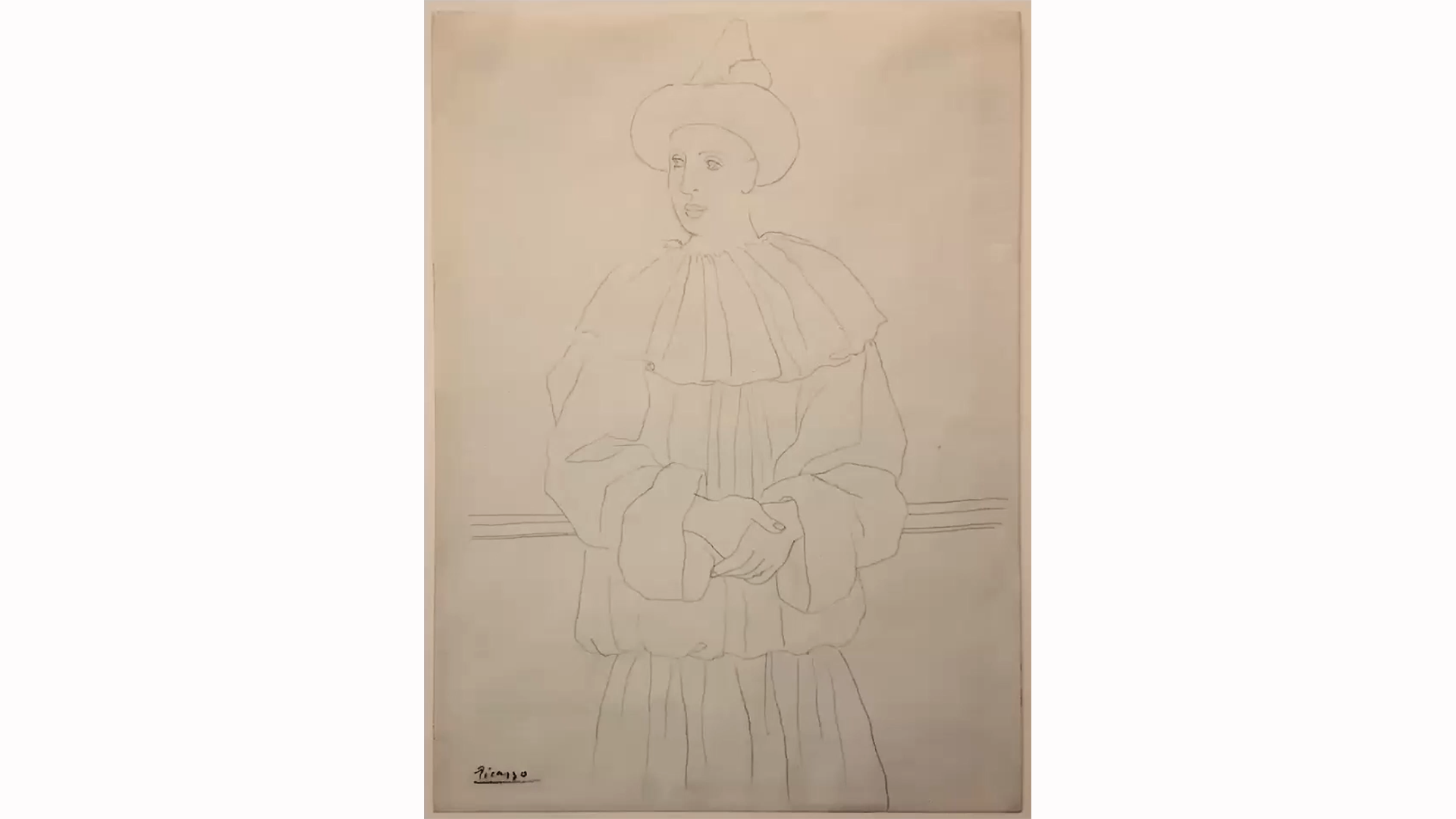 This drawing depicts a male figure with a pointed hat and an oversized suit with a large circular collar. His hands are folded, and he is leaning backward.  calmly folding his hands and leaning backward. He looks toward the left of the picture.