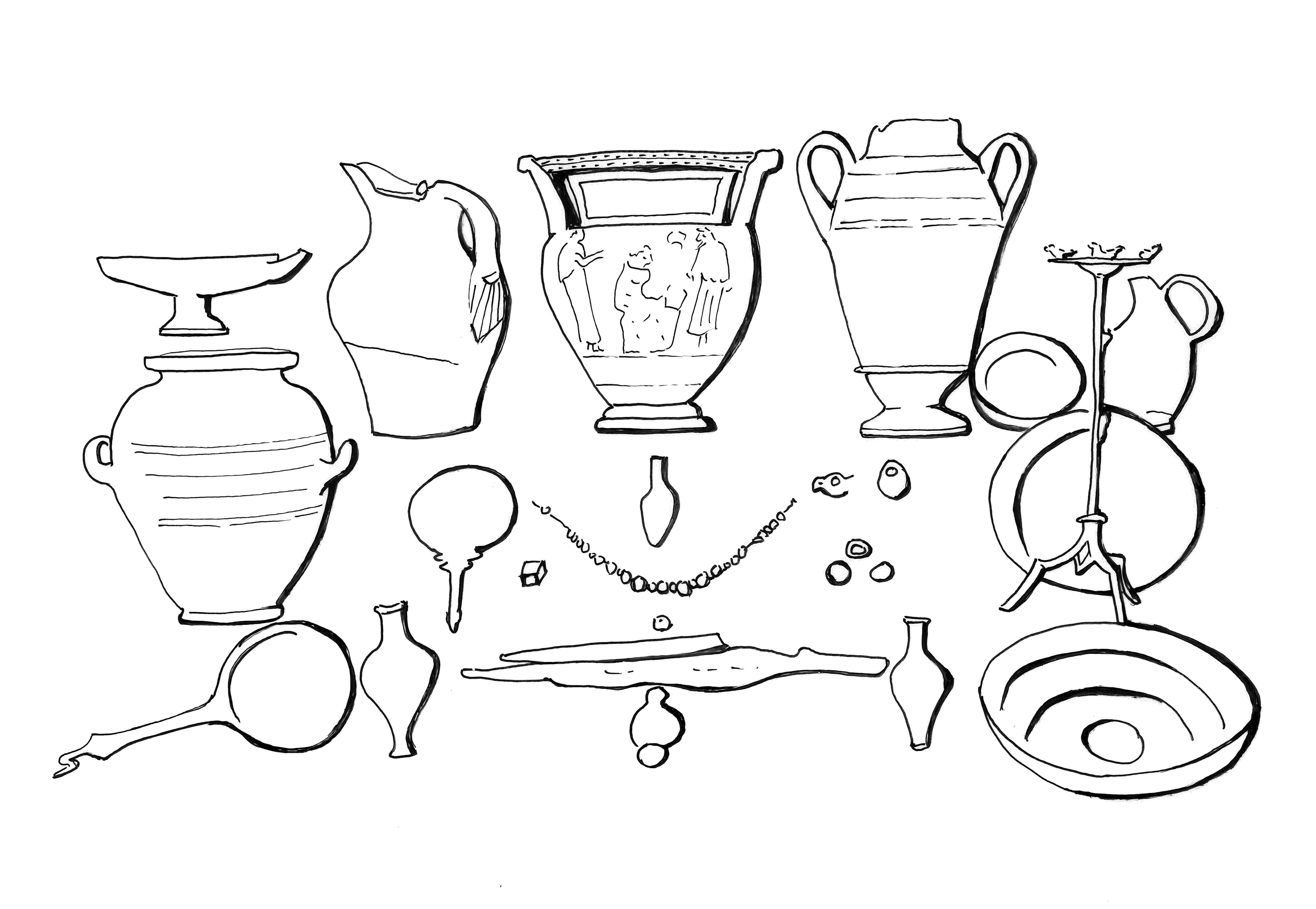 This black and white line drawing shows a group of vessels and utensils; the larger objects are arranged at the back and along the sides, and the smaller ones are in front. There are five large vessels, seven smaller ones, a tripod incense burner, a hand mirror, jewelry, and one or two weapons. A large vessel at top center bears figure decoration.