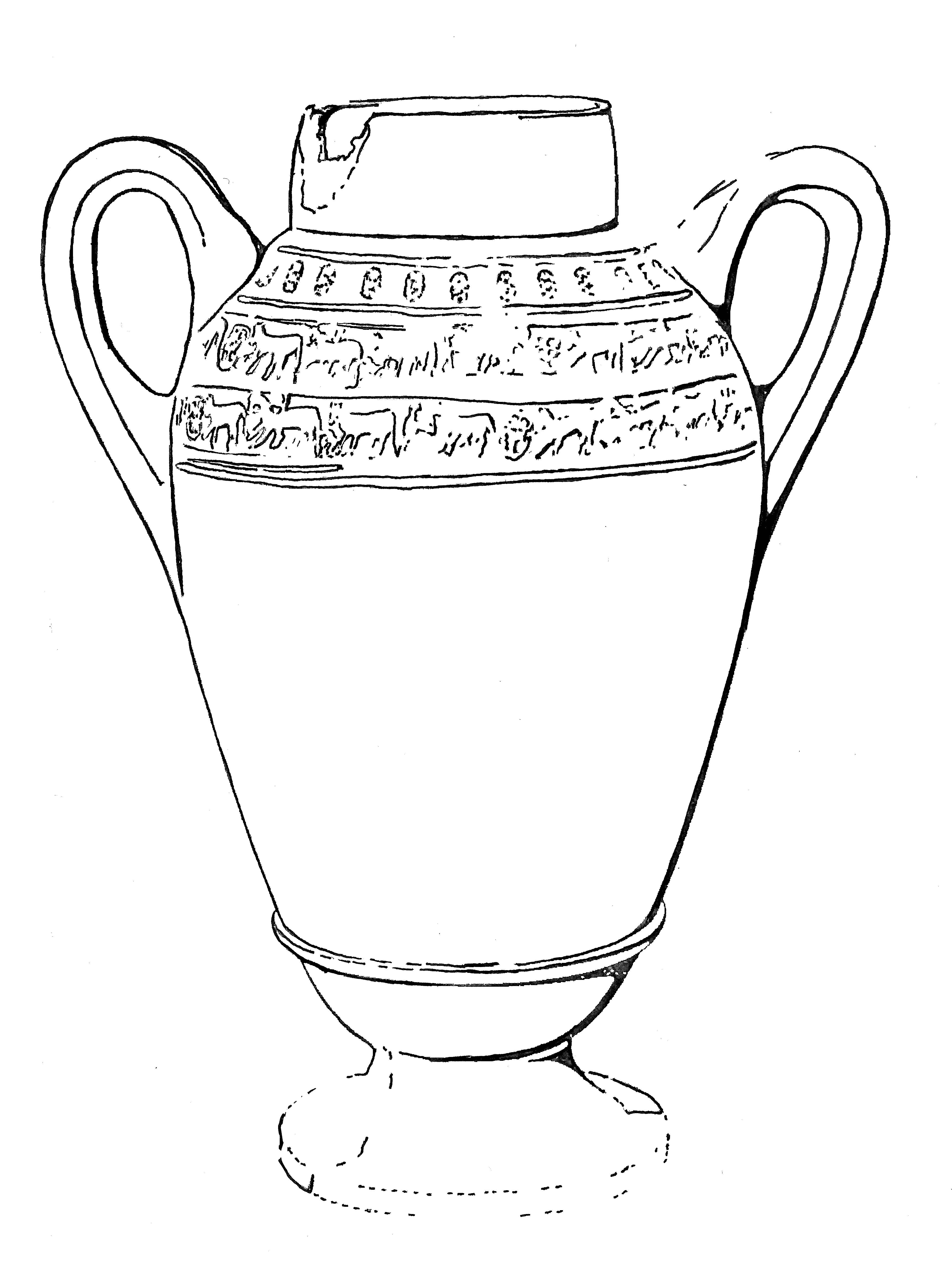 This drawing shows a vessel with two handles and two friezes of decoration around the shoulder area. Part of the foot is illustrated with dotted lines.