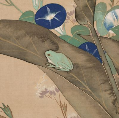 This close-up of a painting depicts a green frog sitting on a gray-brown leaf. The frog is surrounded by blue morning glories with green leaves and soft purple flowers.