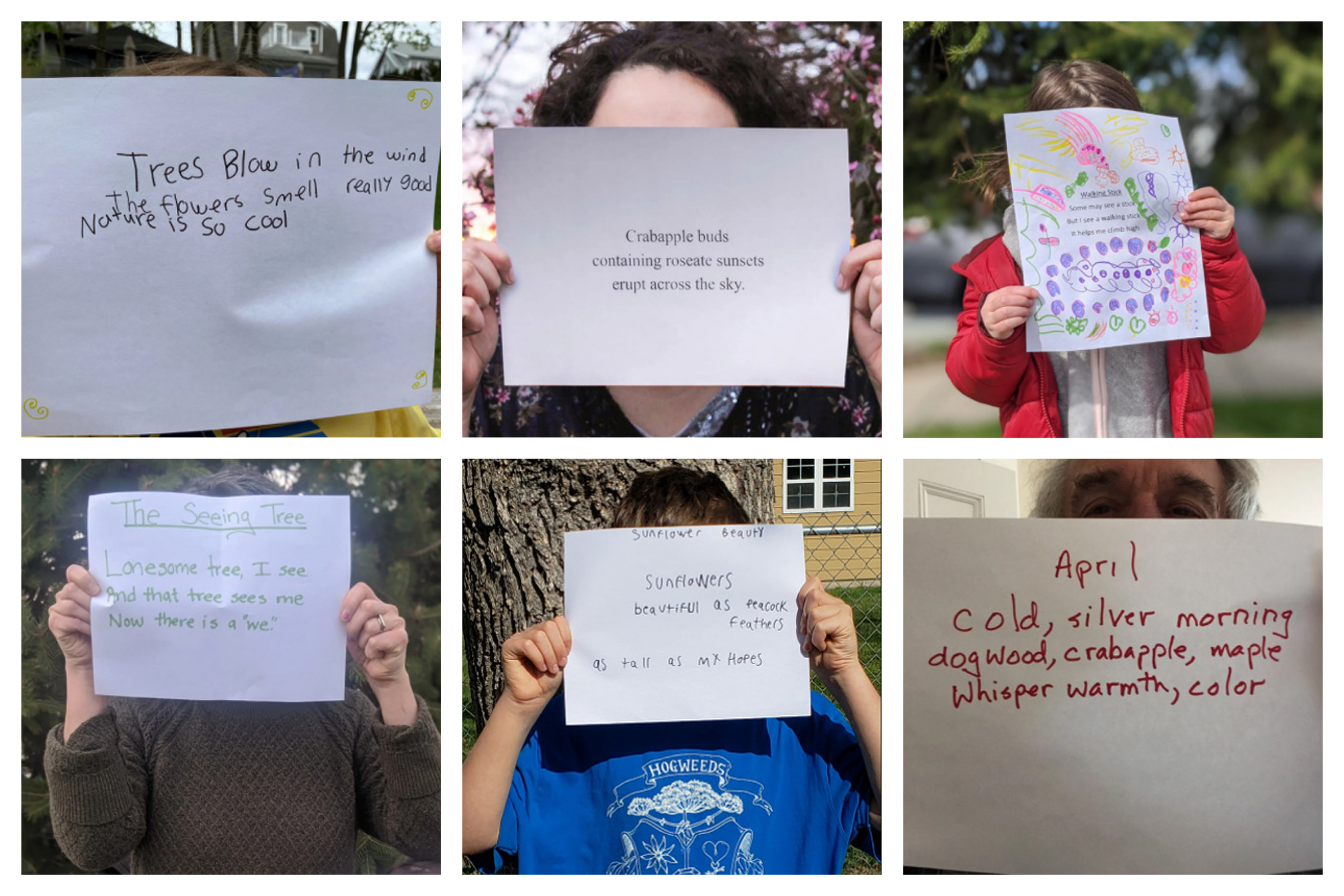 Six square collaged images of individuals holding up pieces of paper with written haiku poetry.