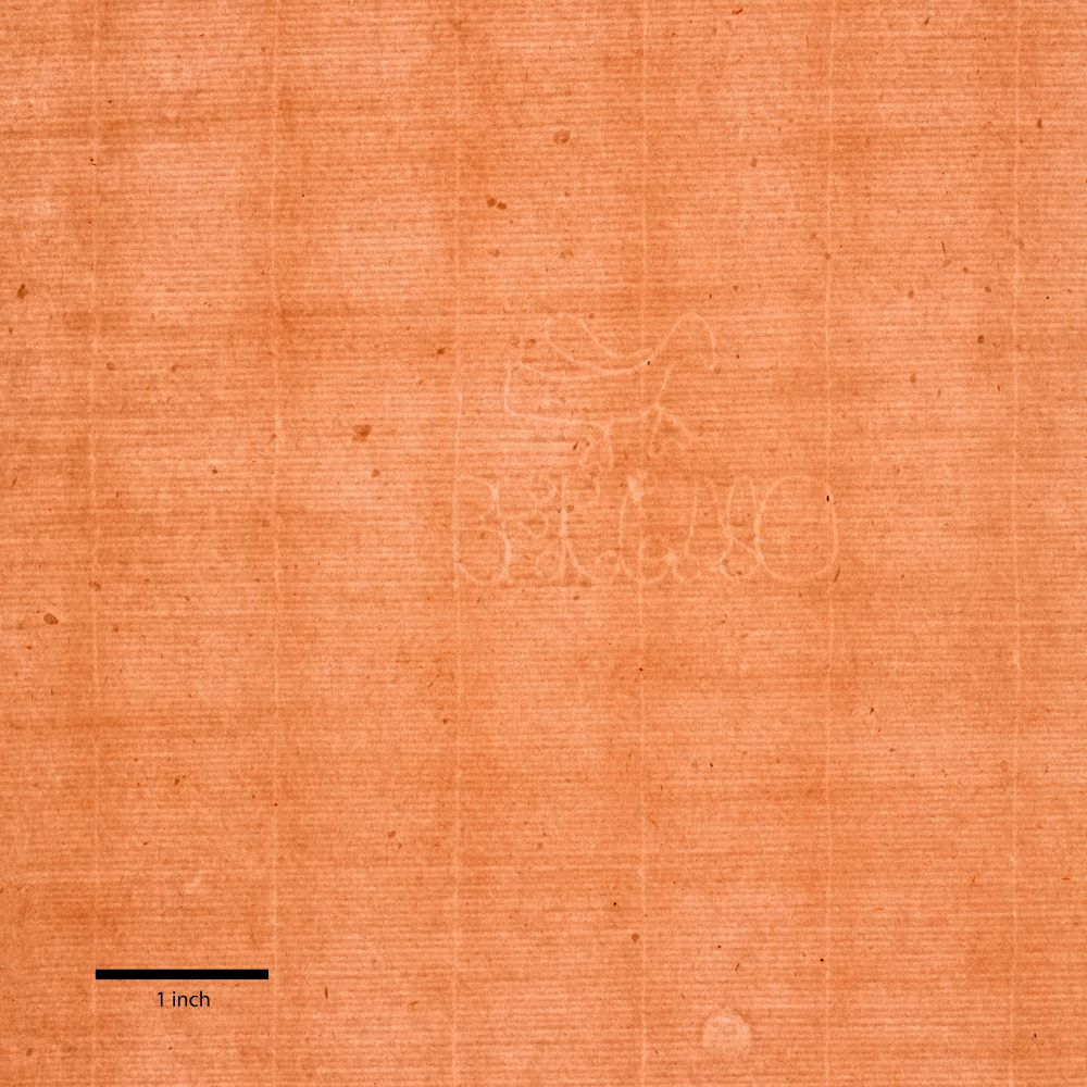 A light brown paper with a regular grid pattern features a watermark with fanciful letters and, above the lettering, a side view of a winged bird. A thick black line marks one inch at bottom left.