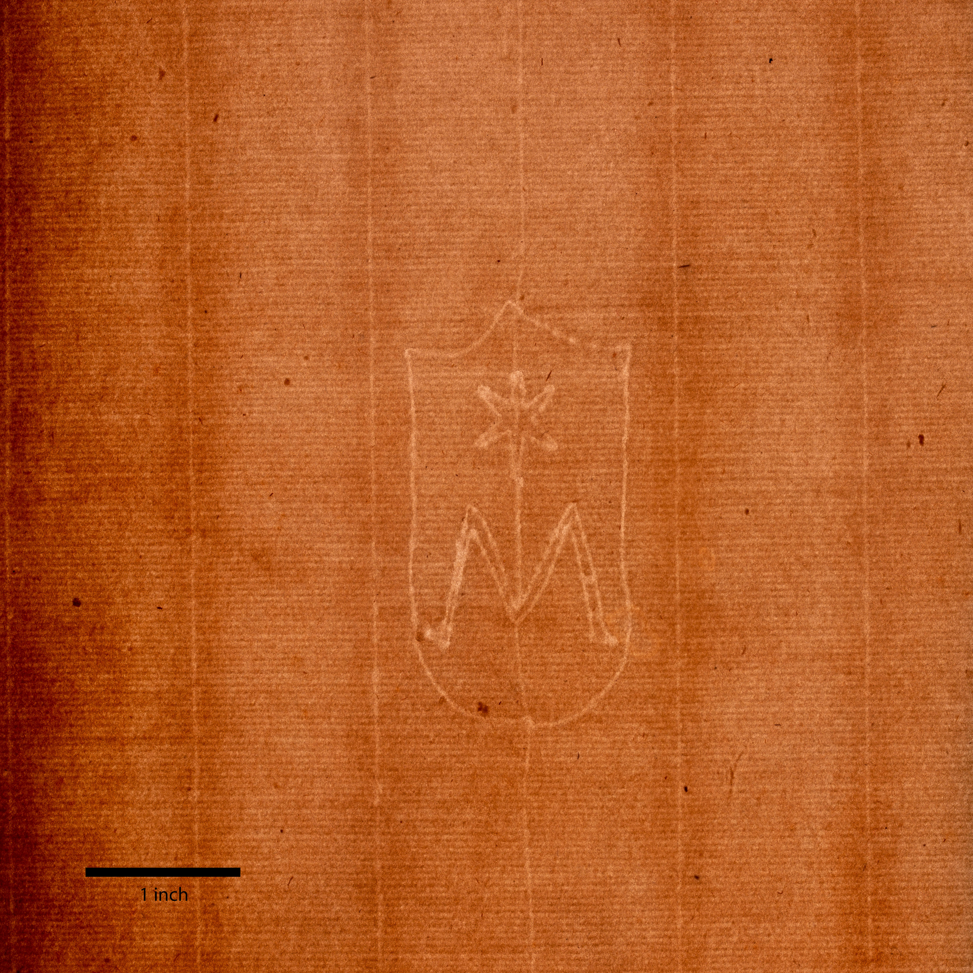 A brown sheet of paper exhibits a regular grid pattern and, in its center, a shield with a capital letter M from which a star rises. A thick black line marks one inch at bottom left.