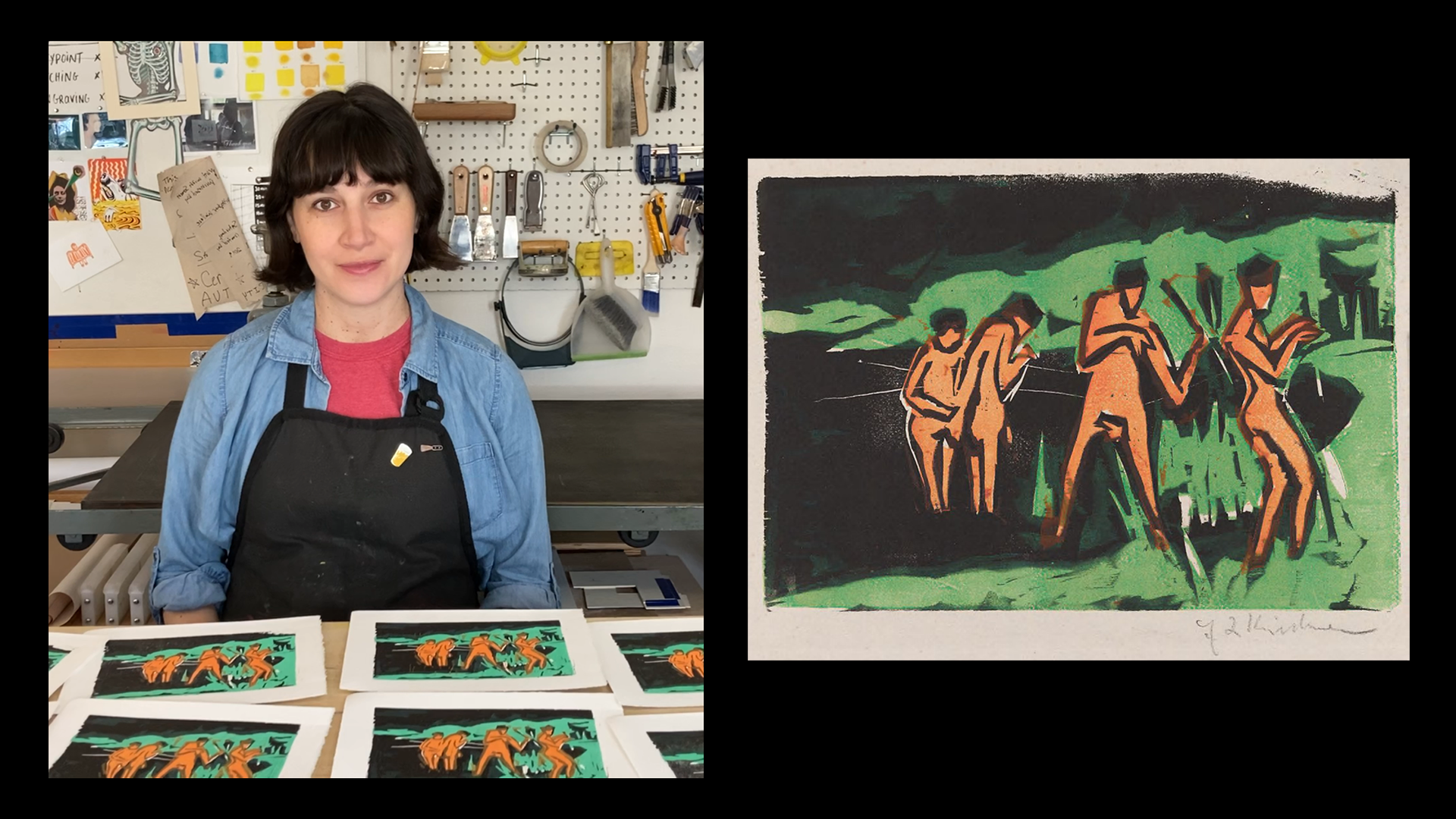 This image shows a split screen. On the left, a woman wearing a black apron sits at a worktable with several woodcut prints in front of her. They show abstracted orange-hued nude figures on the shore of a pond, with green foliage behind them. The right side is an enlarged view of one of the prints, and it is set against a black background. A signature is at bottom right.
