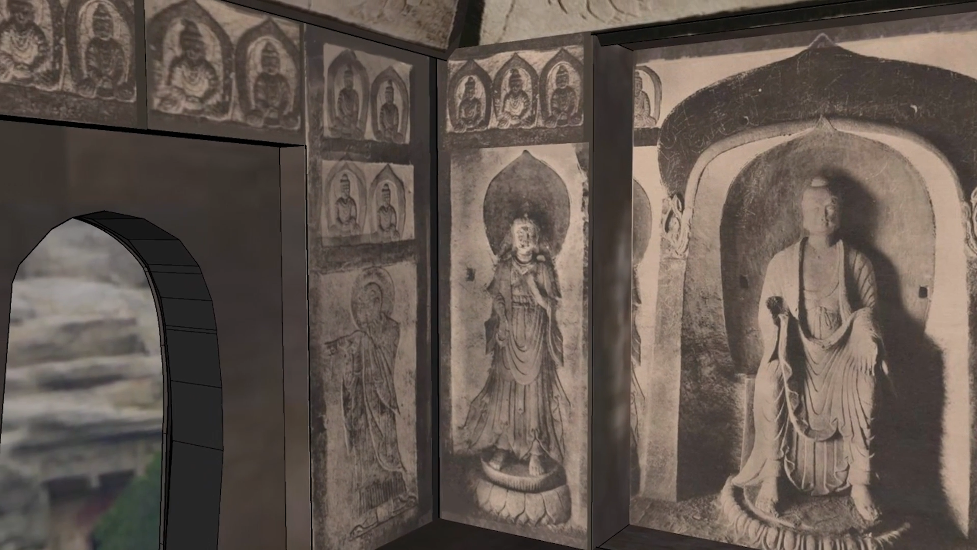 This digital rendering includes photographs of stone wall carvings. The rendering shows a corner of the room where two walls meet. The wall on the left has an arched doorway, and above it, a row of repeated carvings of a seated figure. To the right of the door, in the corner, is a carving of a standing robed figure. In the same corner is a slightly larger robed standing figure, in high relief on a pedestal. Just to the right of that figure is an even larger robed figure, also in high relief, of a seated Buddha, on a lotus leaf–patterned pedestal.