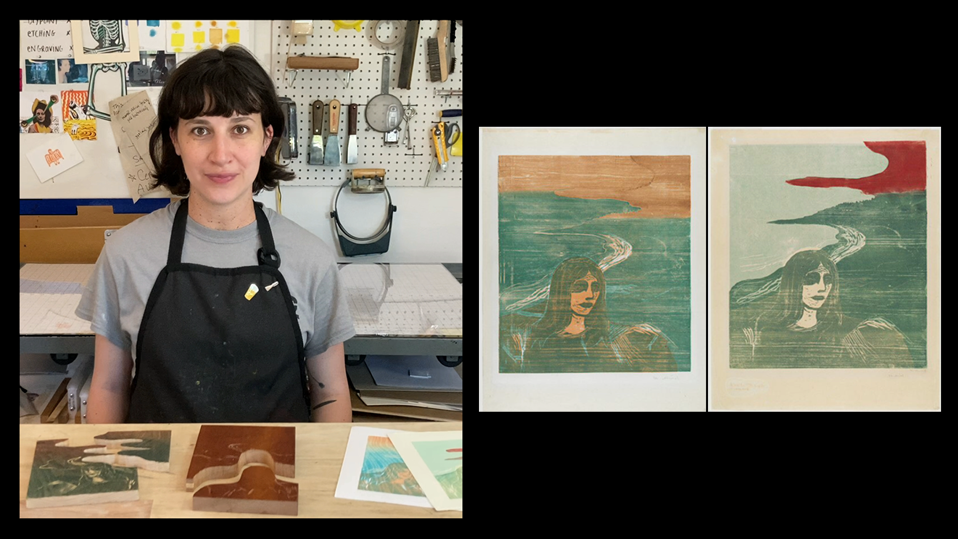 This image shows a split screen. On the left, a woman wearing a black apron sits at a worktable with woodcut blocks and prints. On the right, there are two color prints of a woman's face in three-quarter profile with a shoreline behind her.