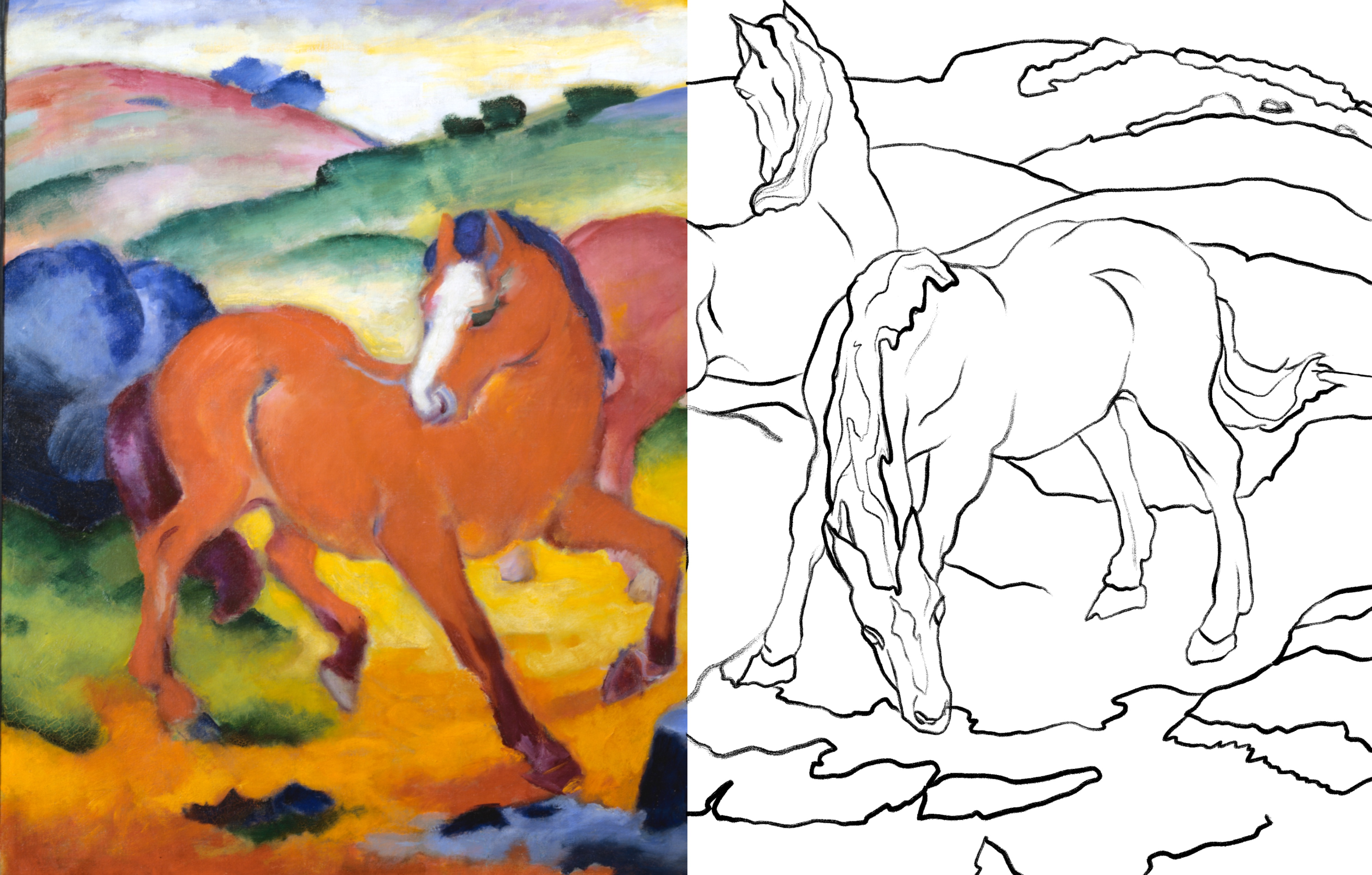 This composite image shows three horses grazing in the rolling hills of an open pasture. The left half of the image, which shows a horse in the foreground and part of another horse, is a full-color painting. The horses are reddish in color, and the surrounding landscape includes greens, reds, and blues. The image continues on the right side in black and white outline and shows the rest of one horse and another one leaning down to eat grass.