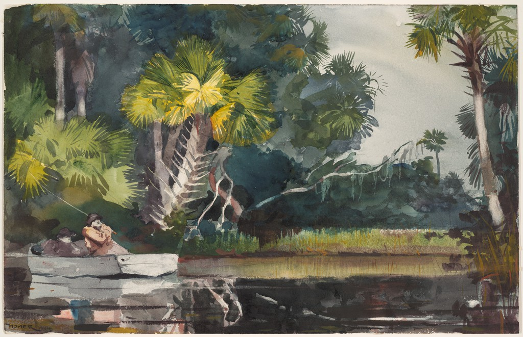 A body of water in the foreground is surrounded by luscious tropical vegetation, including palm trees of various heights, textures, and tonalities. In a gray rowboat reflected in the calm water, a fisherman holds his rod high behind his back. A second, only schematically painted figure, dozes off behind him. Both wear hats and raincoats on what appears to be an overcast day.