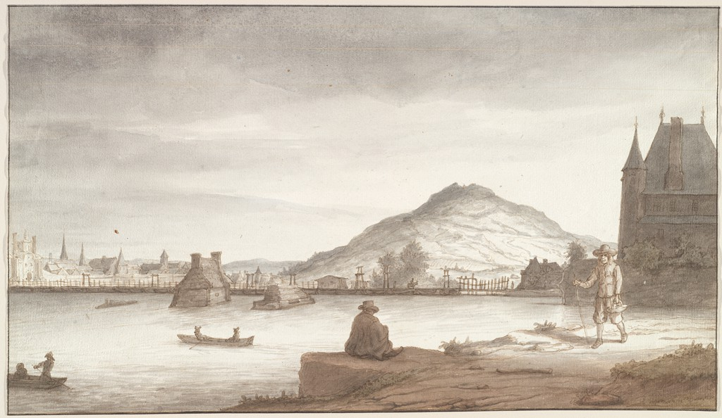 On the bank of a wide river, a seated man is approached by another man; both wear brimmed hats. Behind them, to the right, is a building with a steep roof, a chimney, and a tower with a turret. Floating in the river are two rowboats, each manned by two figures. Two stone structures rise out of the water. Beyond these is a wooden floating bridge supported by a row of boats. In the background are, at left, various buildings and, at center, a pyramidal hill.