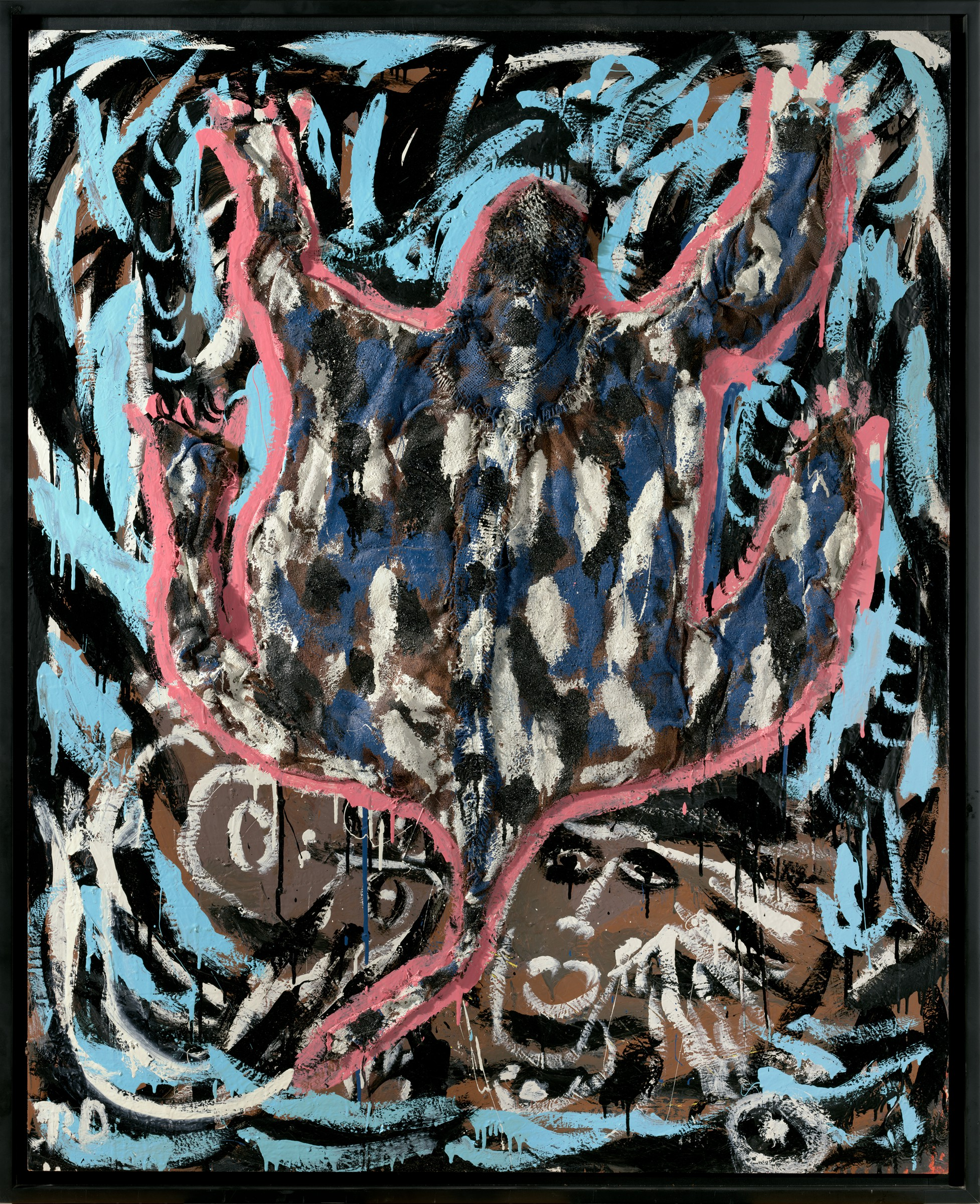 This gestural painting features a stylized turtle with outstretched limbs and a curved tail, positioned centrally above two faces reduced to their main features—outlines of eyes, nose, and lips. The symmetrical composition uses a reduced palette of black, white, blue, and coral on a brown ground.