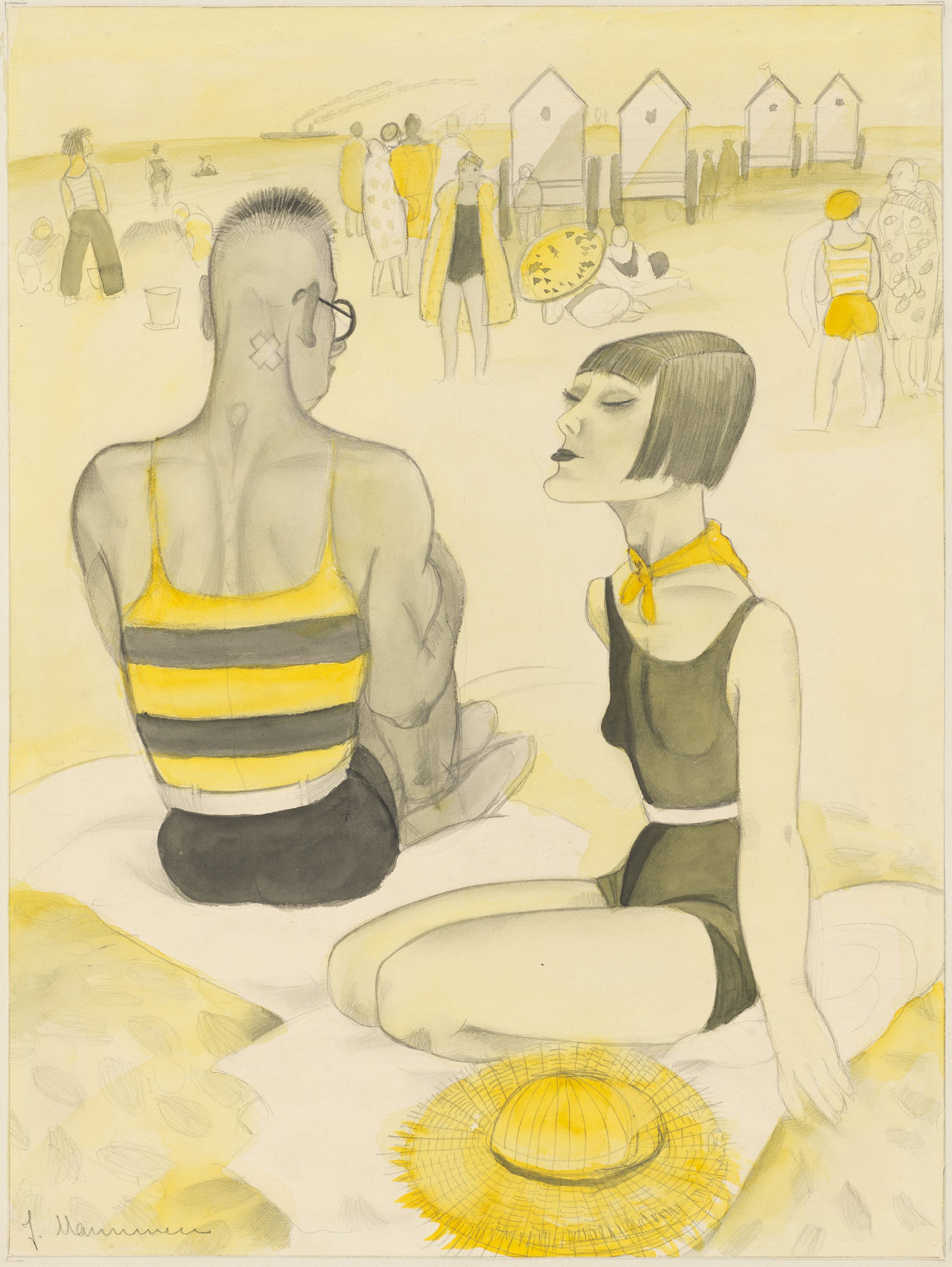 In the foreground of this drawing, a man and woman sit close together on two towels on a beach. In the background, small groups of people stand, sit, and lie on the sand. Four beach huts occupy the top right corner. An outline of an ocean liner trailing steam is visible on the horizon.