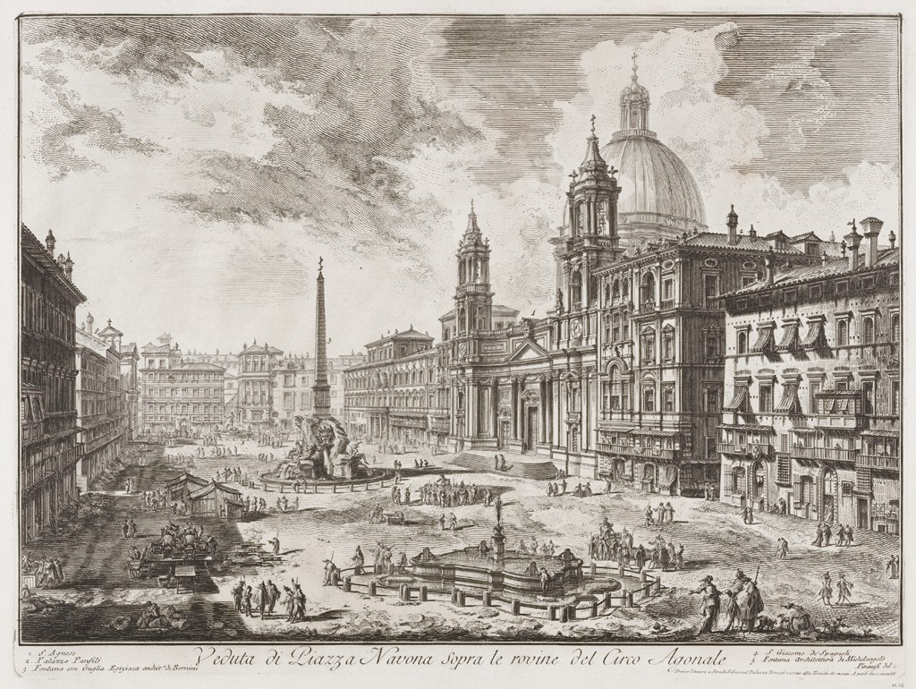 A large city square with scattered passers-by features in its center an obelisk atop an ornate fountain. A domed church with twin towers and many stately houses surround the plaza on three sides. They cast deep shadows that, together with dramatically illuminated cloud formations, suggest bright sunlight.