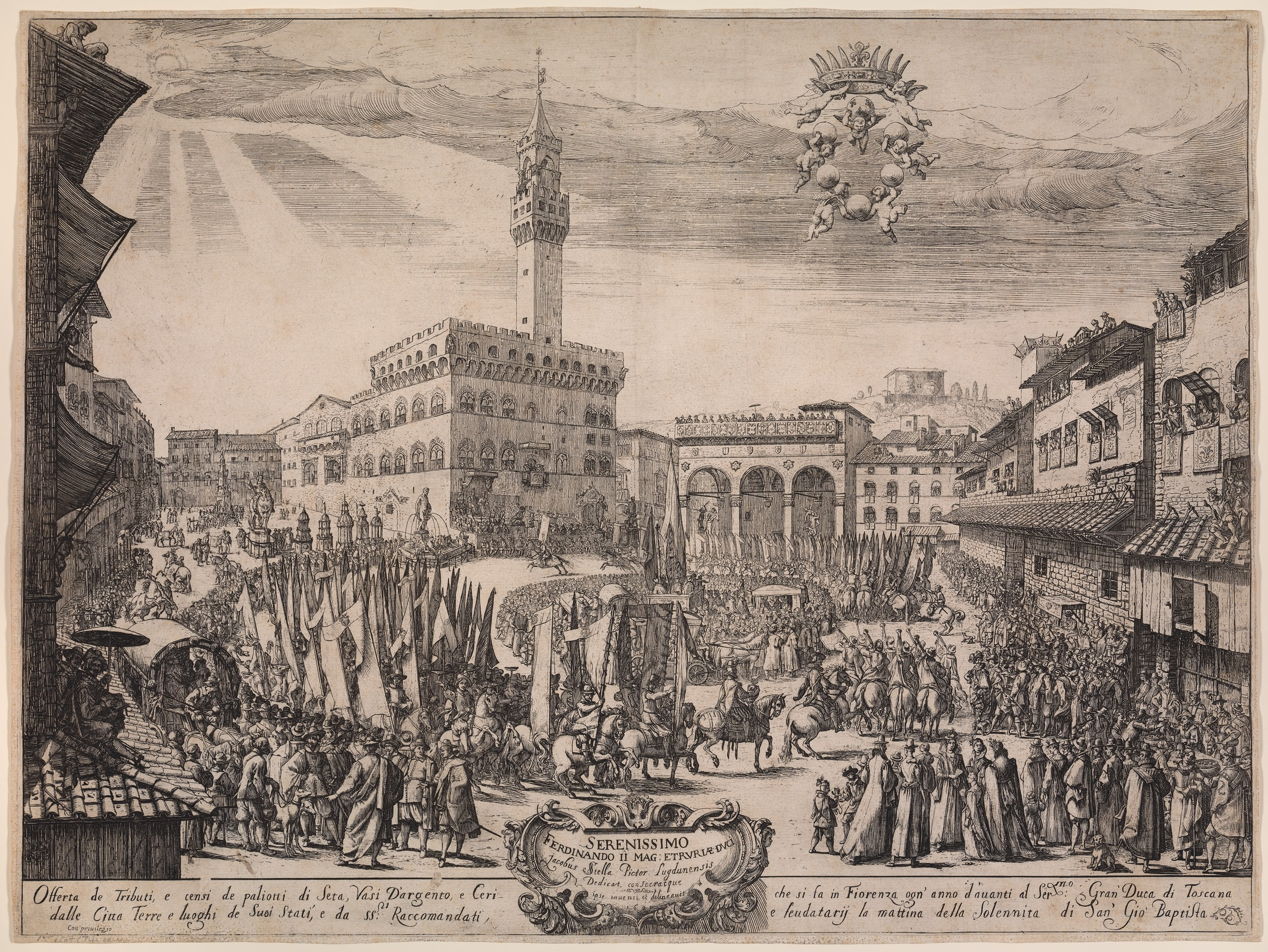 This print shows a city square surrounded by houses and public buildings. A large group of people approaches from the left, with mounted riders taking the lead and numerous flag-bearers following, ahead of groups of people behind them. Viewers are lining the square as the parade goes by. An inscription in Italian is at the bottom of the print; a coat of arms floats in the sky.