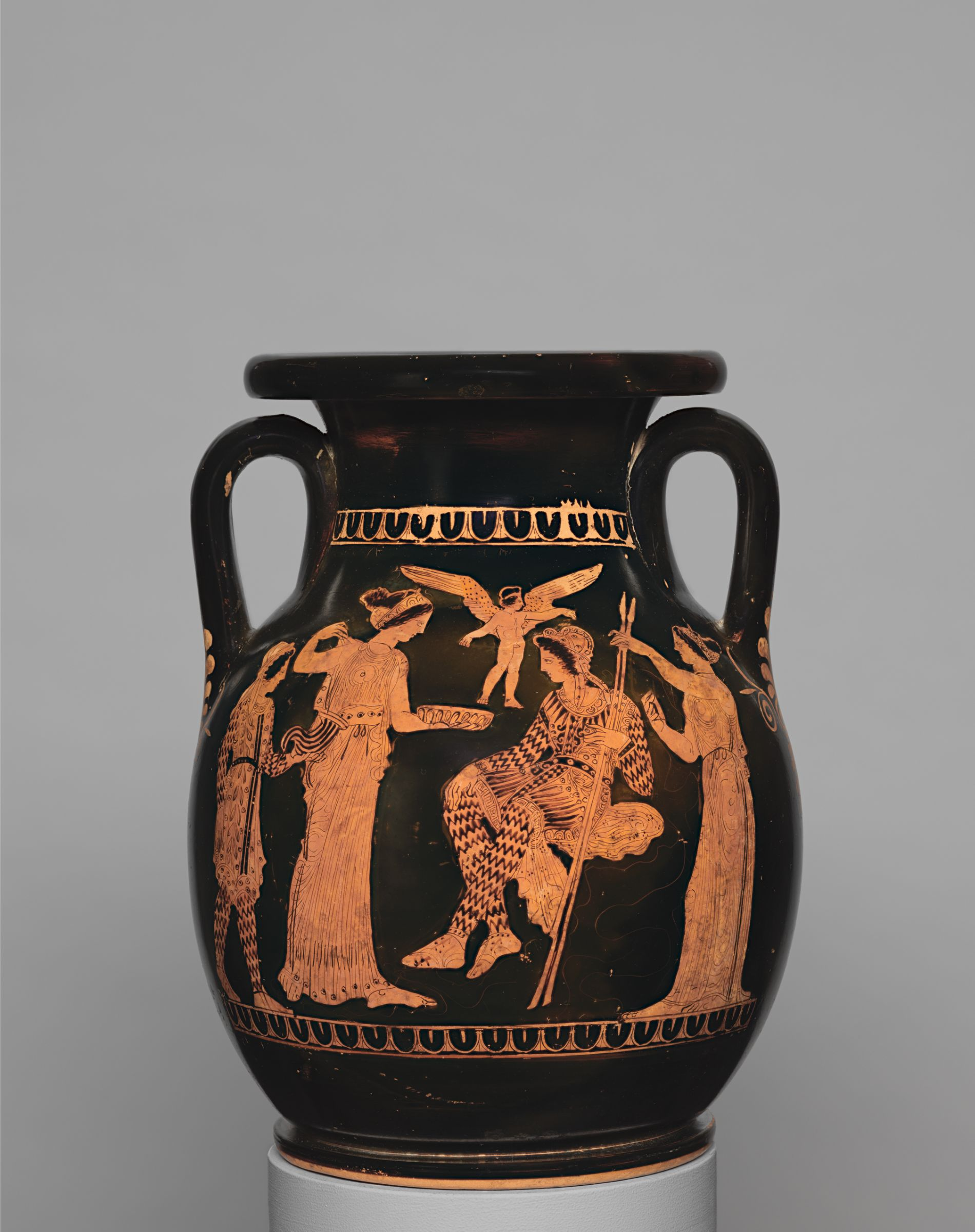 Pelike depicting Helen and Paris, attributed to the Painter of Louvre G 539, Greek, Attic, 420–400 BCE. Terracotta, red-figure technique. Harvard Art Museums/Arthur M. Sackler Museum, Bequest of Joseph C. Hoppin, 1925.30.46.