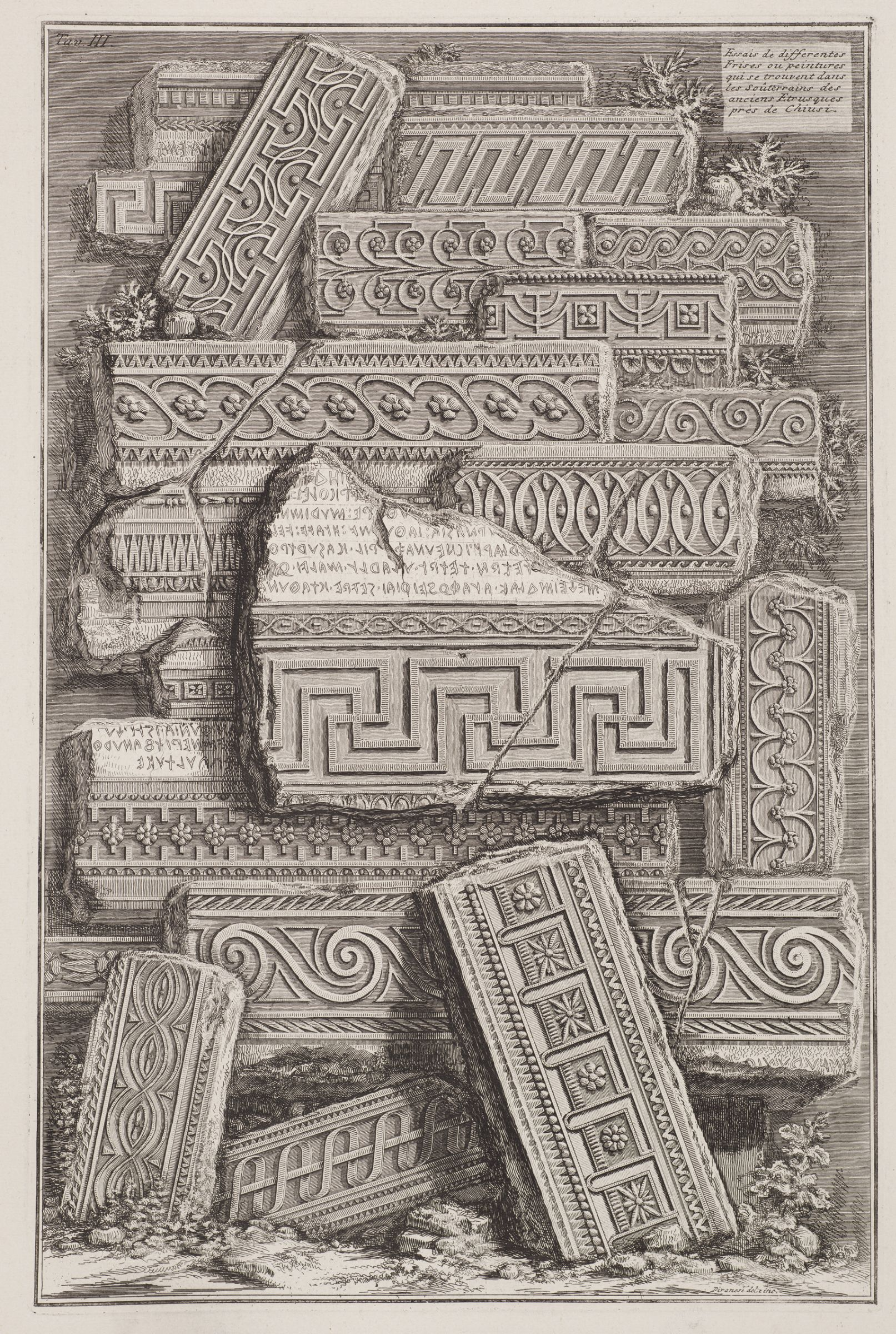 In Piranesi's Studies of Etruscan Friezes at Chiusi, the Etruscan letters are accurately represented, but in nonsensical combinations. Etruscan, a non–Indo-European language, was read from right to left.