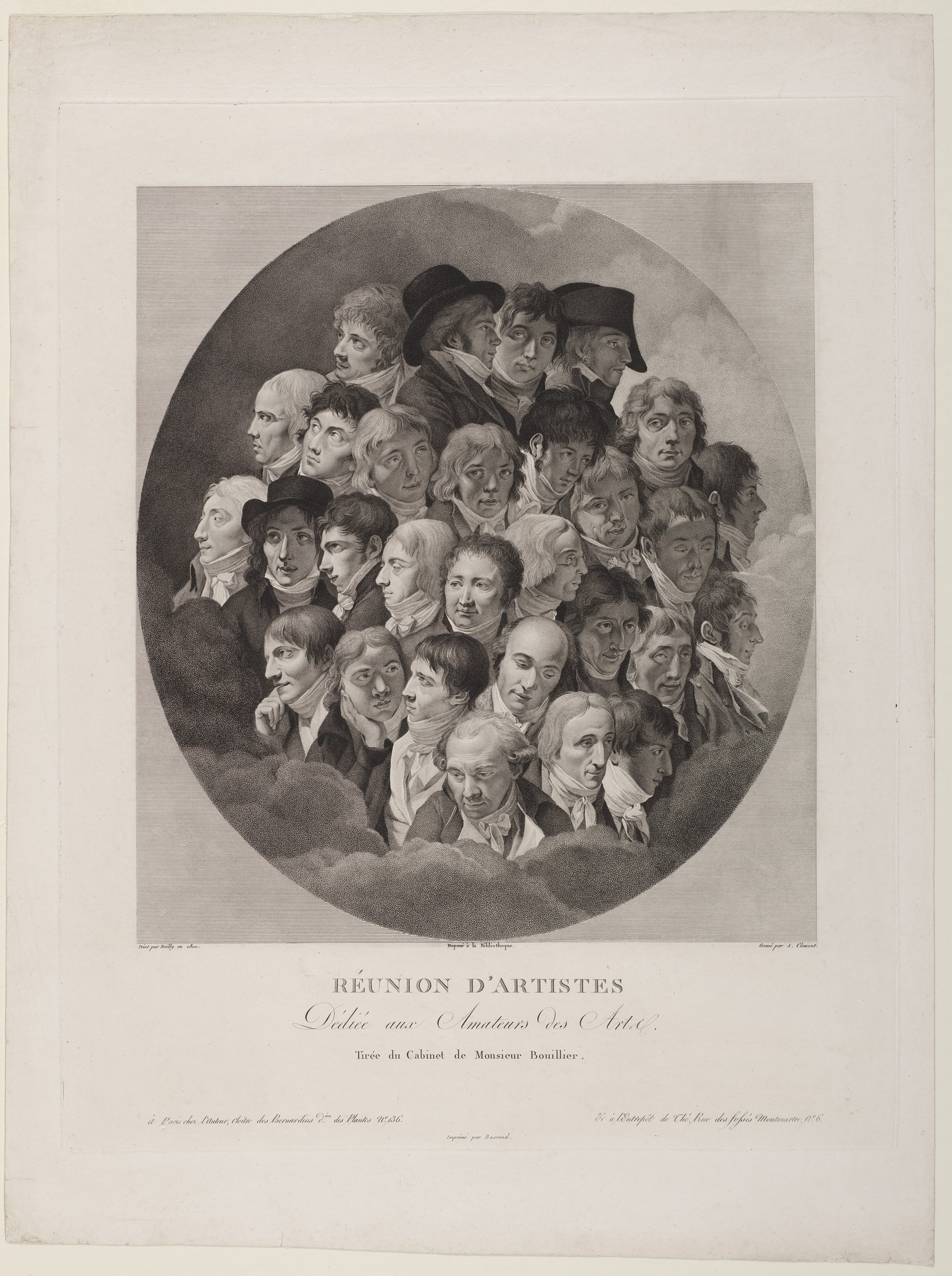 """In this black and white print, 29 male heads are arranged tightly in an oval. Some are shown in profile, facing left or right; others are depicted in three-quarter view, and yet others look out at the viewer. Some men are young, others middle-aged or older. Three wear hats, and one is nearly bald. The hair of the others is quite long, frequently curly, and rendered in different shades of light and dark. As far as is visible, they all wear jackets and white neck scarfs. The group of heads is surrounded by clouds. The caption reads """"Réunion d'artistes."""""""