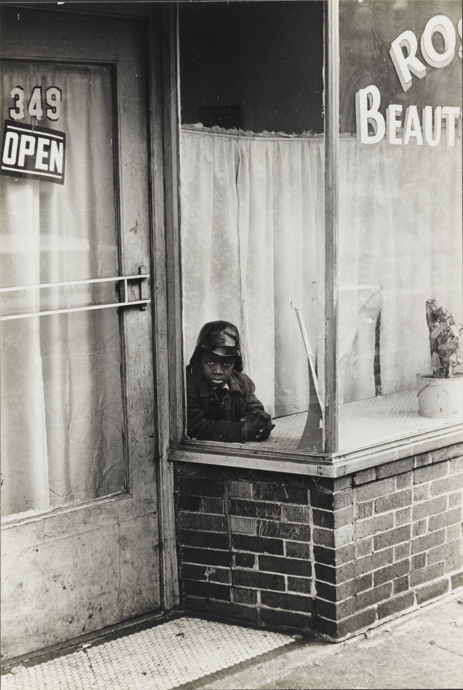 Frank Espada, Boy in the window of a beauty salon; East New York, 1964. Gelatin silver print. Harvard Art Museums/Fogg Museum, Richard and Ronay Menschel Fund for the Acquisition of Photographs, 2018.103.