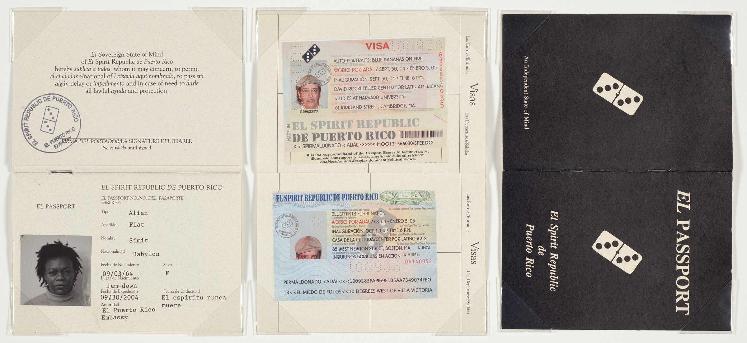 """There are two images side by side. The left-hand image is in a horizontal format and comprises three sheets resembling passport folios displayed in a row. The sheet on the left appears to be a passport with a photograph of a Black individual accompanied by text and a passport stamp. The folio in the middle features two small rectangular ID documents that appear to be green cards or visas. One the right, a black passport """"cover"""" reads """"El Passport"""" in white text on a black background, accompanied by an image of a white domino with three black dots on each end and additional white lettering. The image on the right is a photograph of a white bungalow house. It has a red brick porch with two black patio chairs and a brown wooden door. An """"OPEN"""" sign hangs on the door. Green boxwood shrubs line the foundation."""