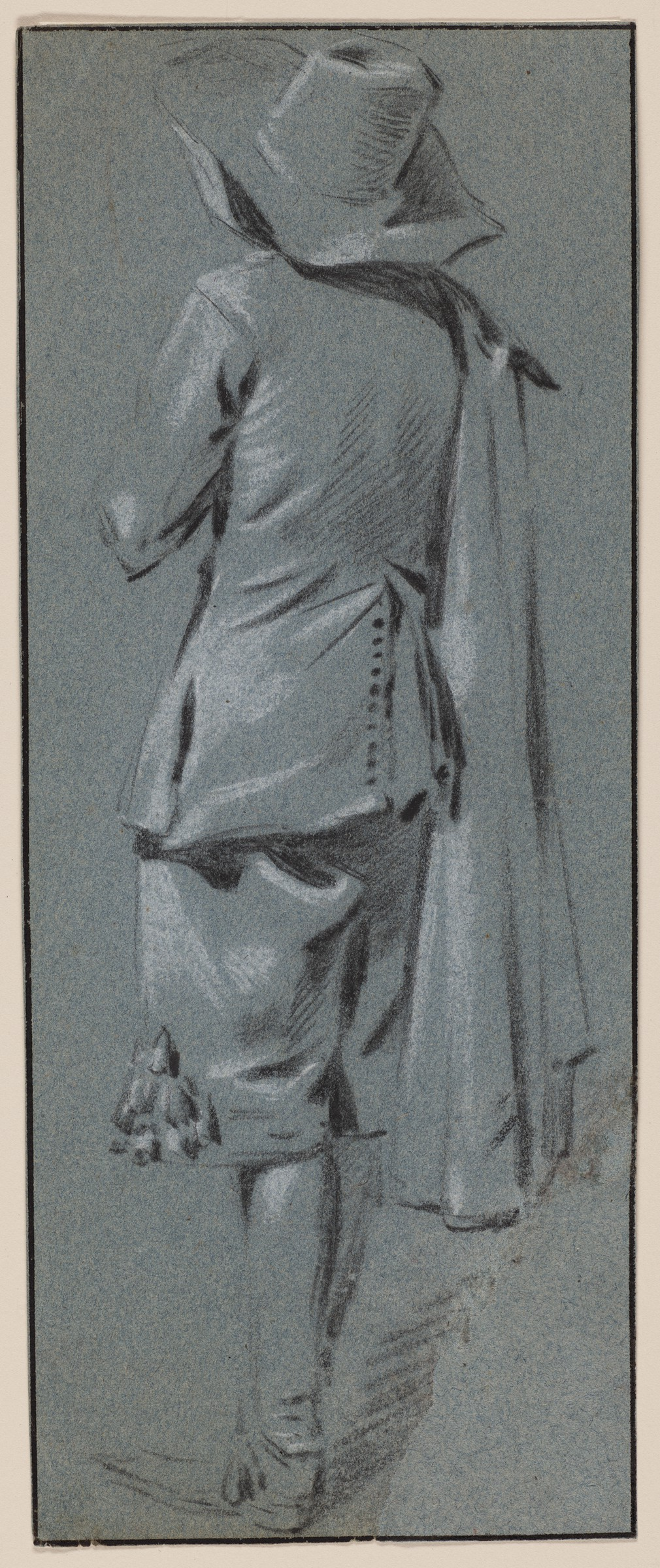 The black and white drawing on blue-gray paper depicts a young man facing away from the viewer. He wears a floppy wide-brimmed hat, a fitted coat with buttons up the back vent, breeches, and boots, and he has a cloak slung over his right shoulder.